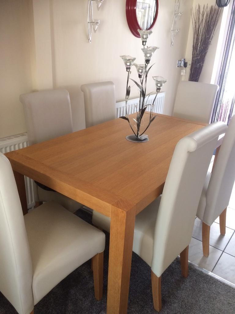 Cream And Oak Dining Tables With Regard To Trendy Oak Dining Table 6 Cream Leather Chairs Nice Set Great Condition (View 13 of 25)