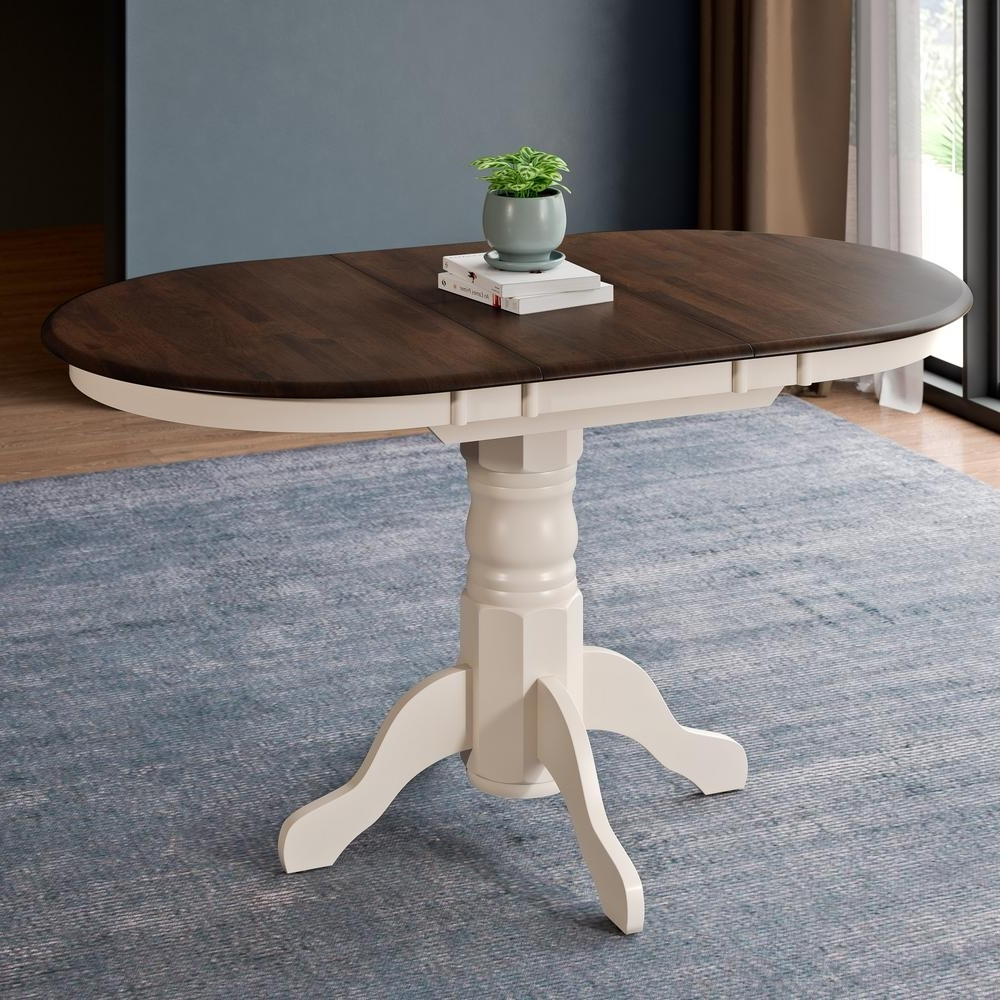 Cream And Wood Dining Tables For 2018 Corliving Dillon Dark Brown And Cream Wood Extendable Oval Pedestal (View 9 of 25)