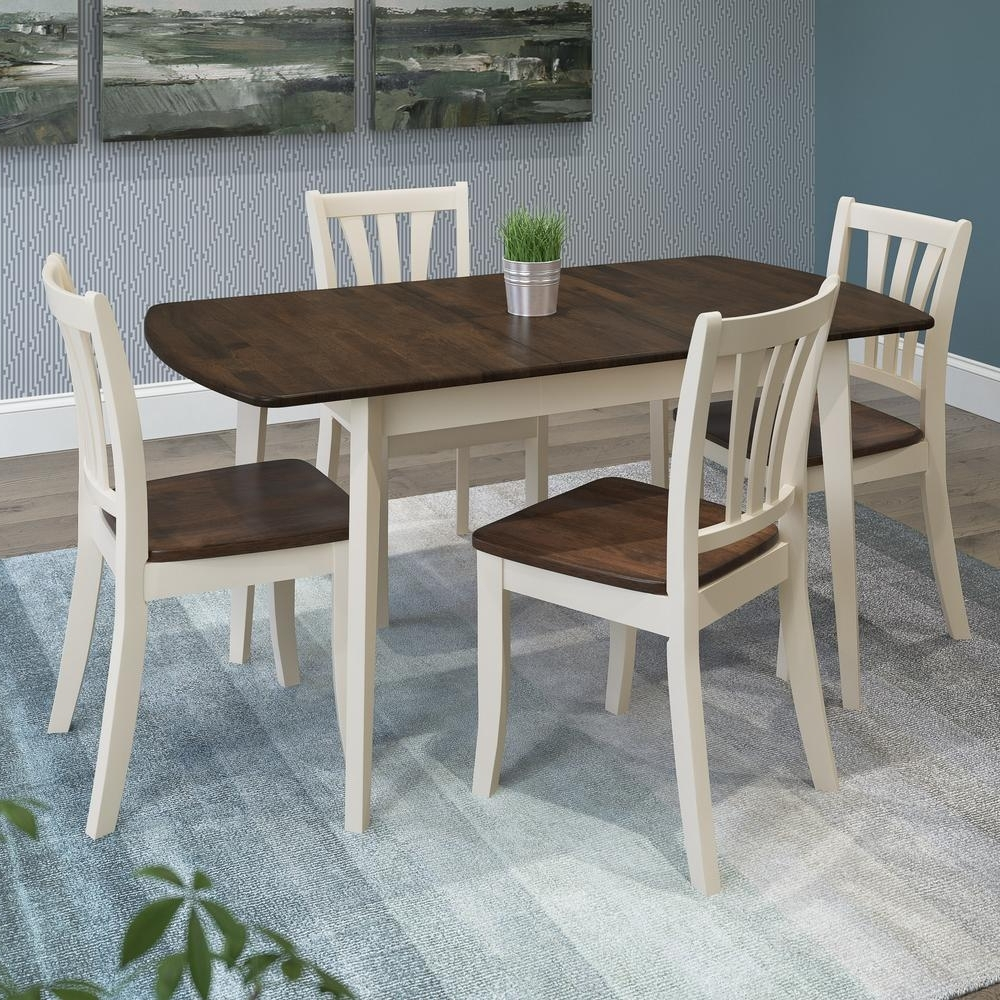 Cream And Wood Dining Tables Inside Most Current Corliving Dillon 5 Piece Extendable Dark Brown And Cream Solid Wood (View 10 of 25)
