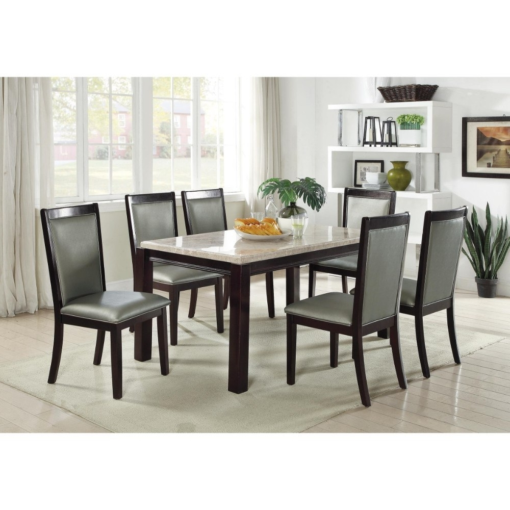 Cream And Wood Dining Tables Throughout Trendy Solid Wood Dining Table With Marble Top Cream And Brown In Dining (View 11 of 25)