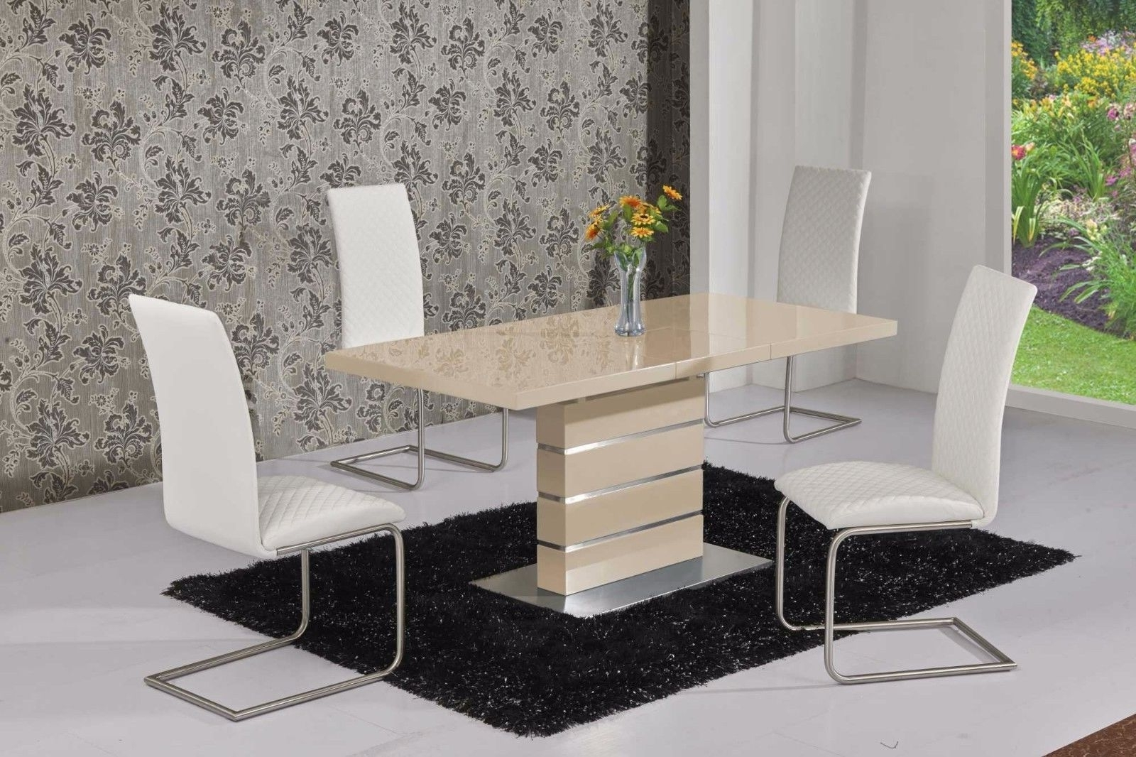 Cream Dining Tables And Chairs Regarding 2017 Mace High Gloss Extending 120 160 Dining Table & Chair Set – Cream (View 4 of 25)