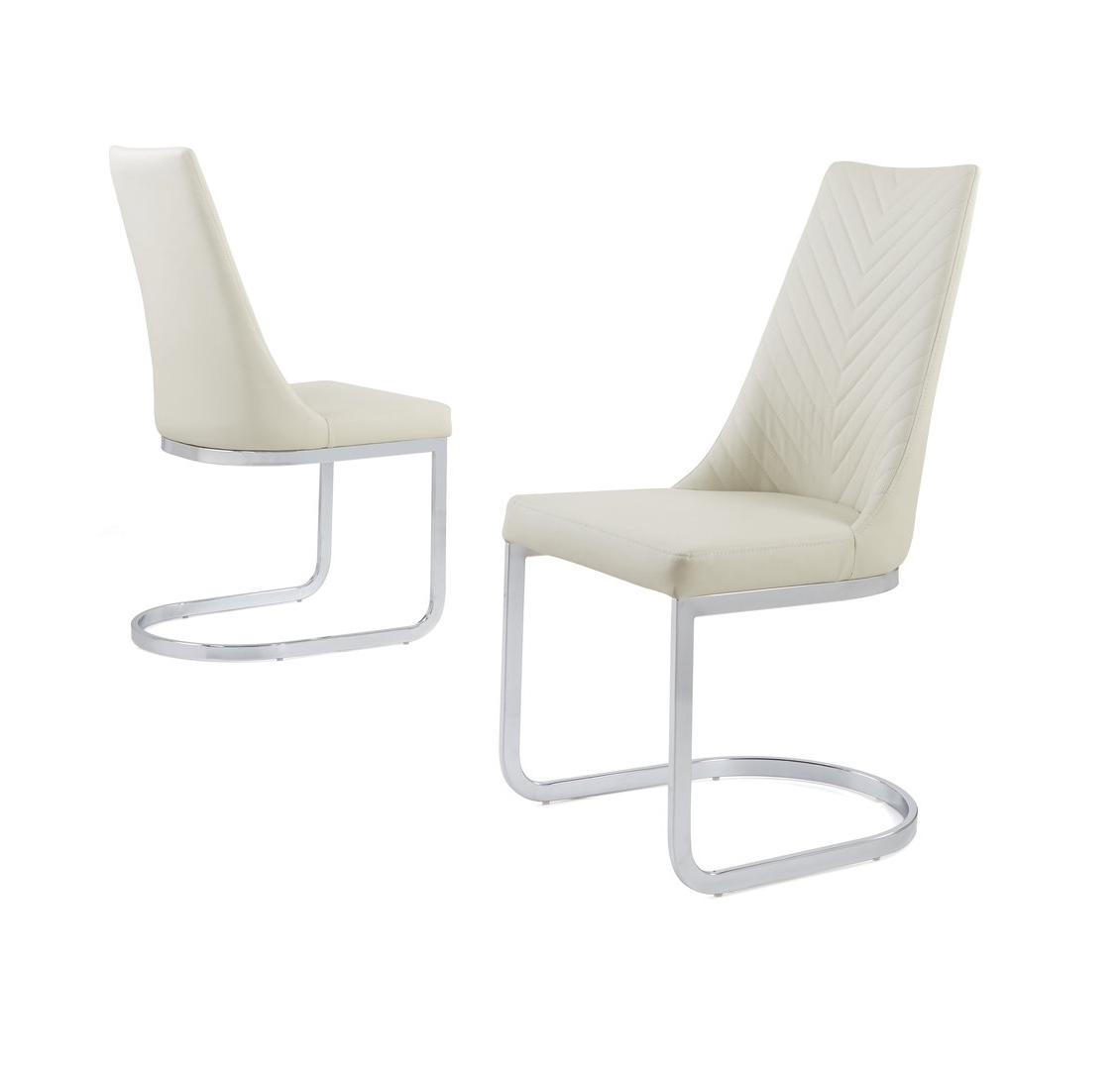 Cream Faux Leather Dining Chair With Curved Leg – Homegenies For Most Up To Date Chrome Leather Dining Chairs (View 14 of 25)