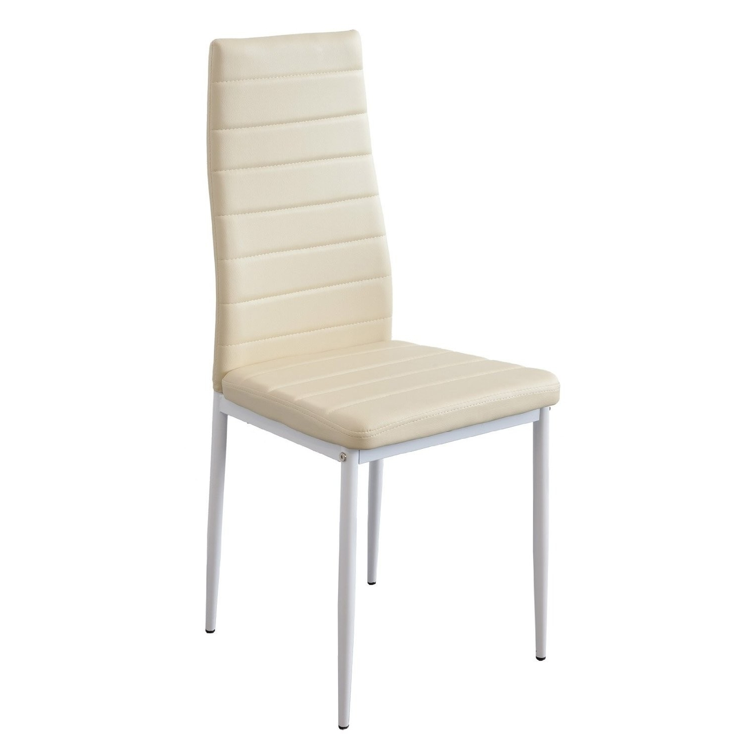 Cream Faux Leather Dining Chairs Intended For Well Liked Modern Red Faux Leather Foam Padded Dining Chairs With Metal Legs (Gallery 4 of 25)
