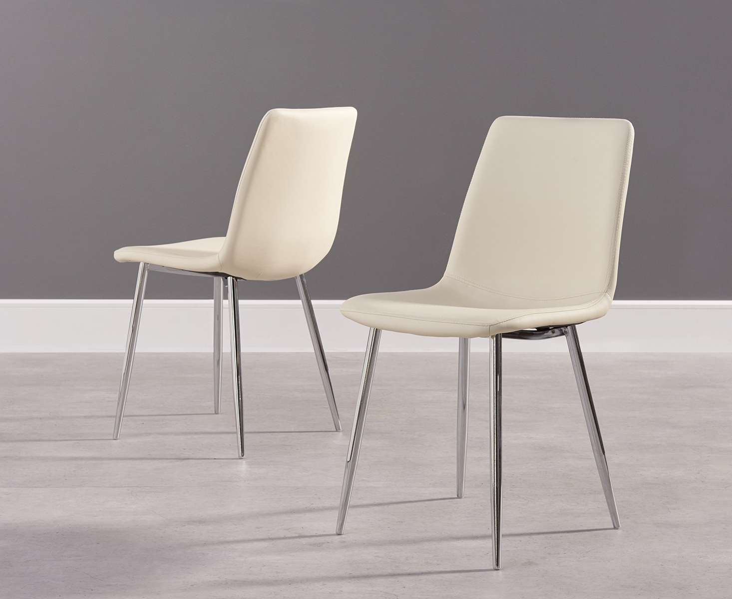 Cream Faux Leather Dining Chairs Pertaining To Most Recent Buy Mark Harris Hatfield Cream Faux Leather Dining Chair With Chrome (Gallery 9 of 25)