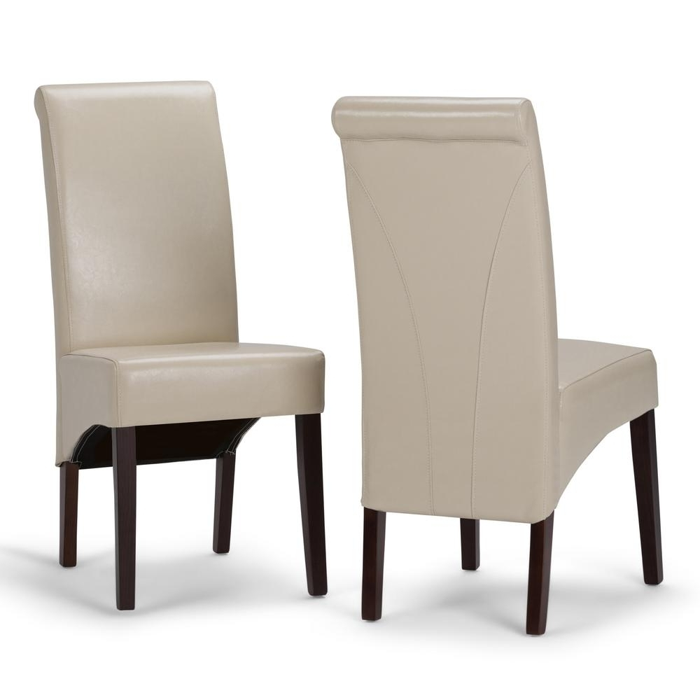 Cream Faux Leather Dining Chairs With Trendy Simpli Home Avalon Satin Cream Faux Leather Parsons Dining Chair (Gallery 7 of 25)