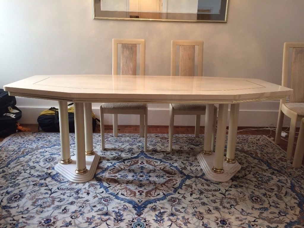 Cream Lacquer Dining Tables Pertaining To Widely Used Big Marble Base Dining Table & 8 Chairs – Ash Wood With Cream (View 1 of 25)