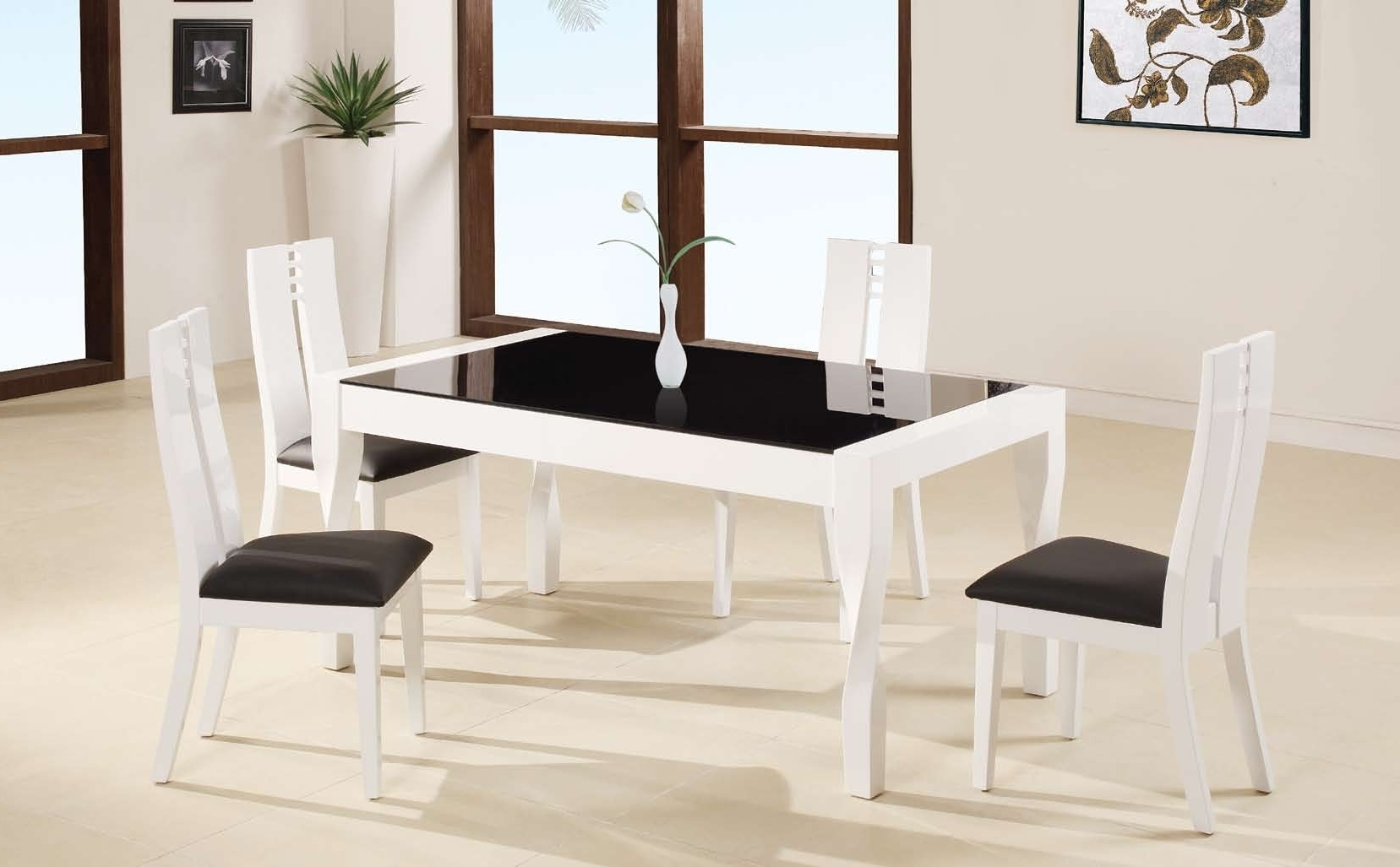 Cream Lacquer Dining Tables With Recent White Lacquer Teak Wood Dining Table Using Black Glass Top Placed On (View 9 of 25)