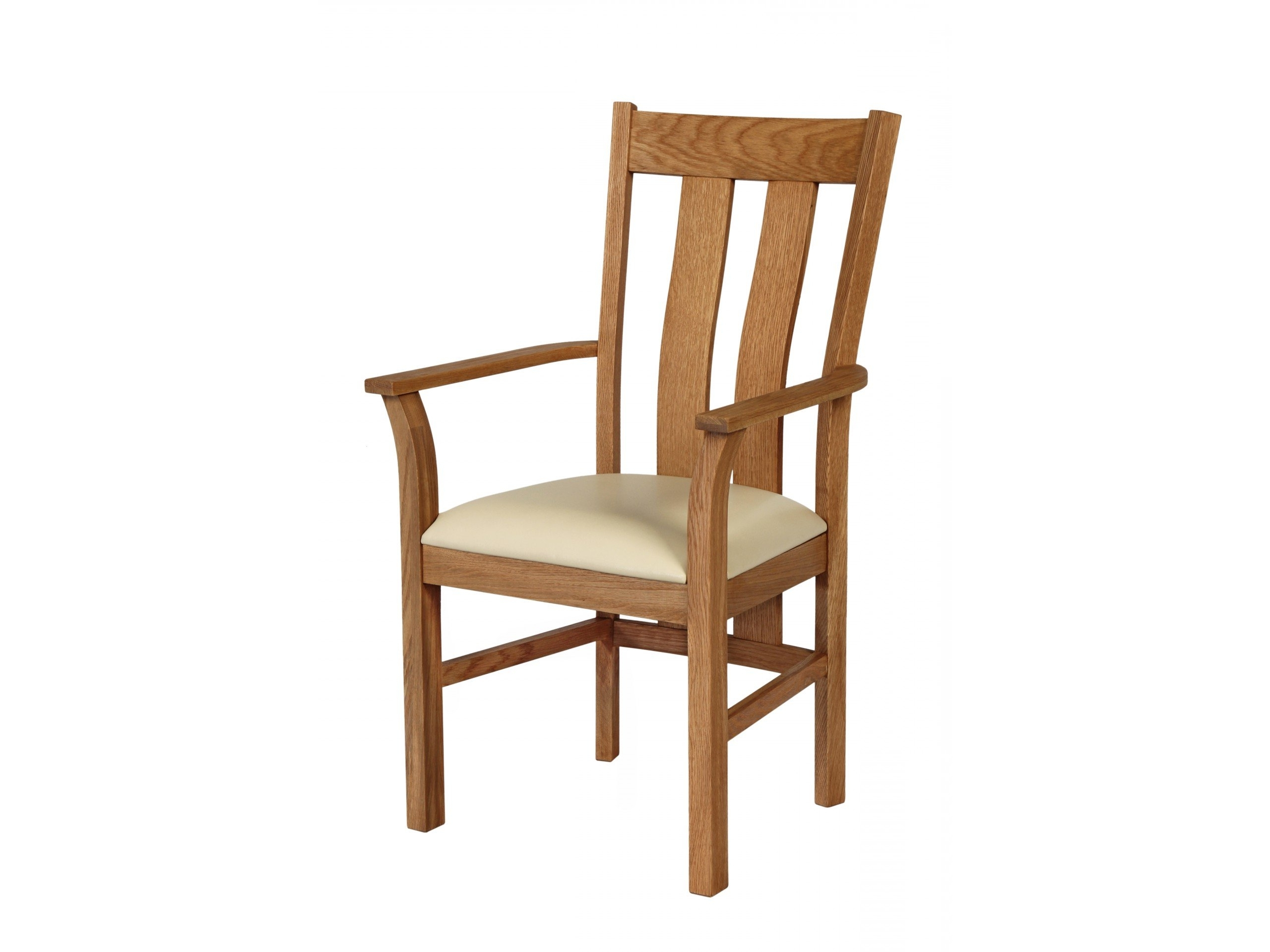 Cream Leather Dining Chairs Inside Widely Used Churchill Cream Leather Oak Carver Dining Chair (View 7 of 25)