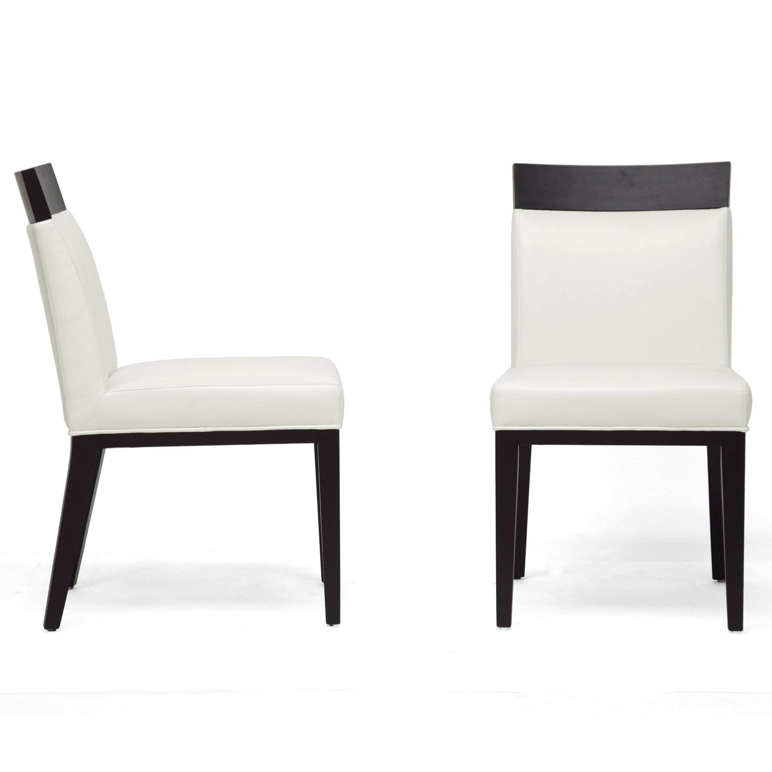 Cream Leather Dining Chairs Intended For Latest Amazon – Baxton Studio Clymene Black Wood And Cream Leather (View 8 of 25)