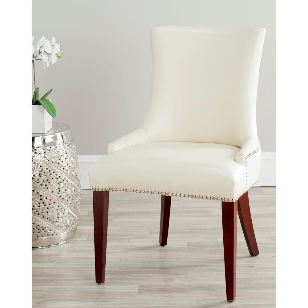 Cream Leather Dining Chairs Pertaining To Best And Newest Safavieh Becca Flat Cream Leather Dining Chair (View 9 of 25)