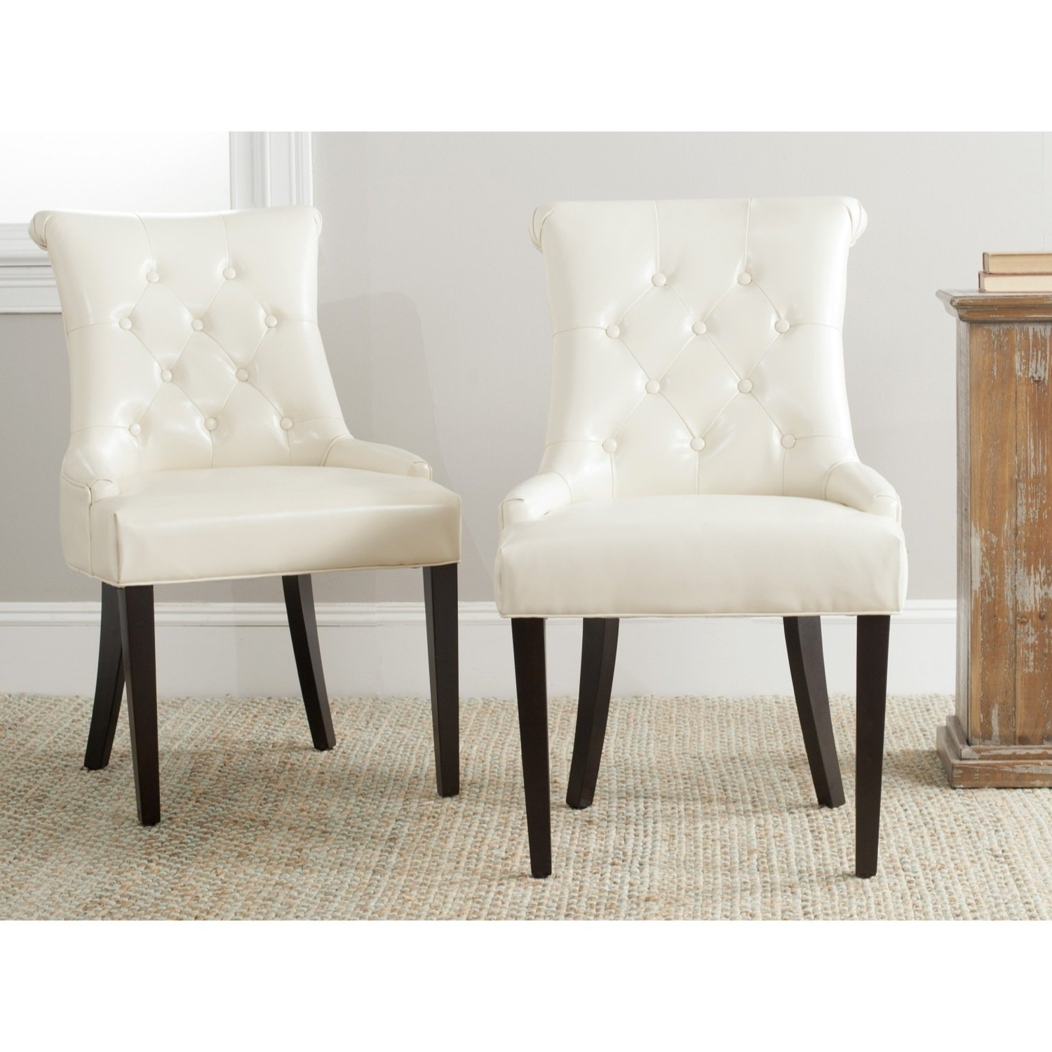 Cream Leather Dining Chairs Pertaining To Famous Details About Safavieh En Vogue Dining Bowie Cream Leather Dining Chairs  (Set Of 2) (View 10 of 25)