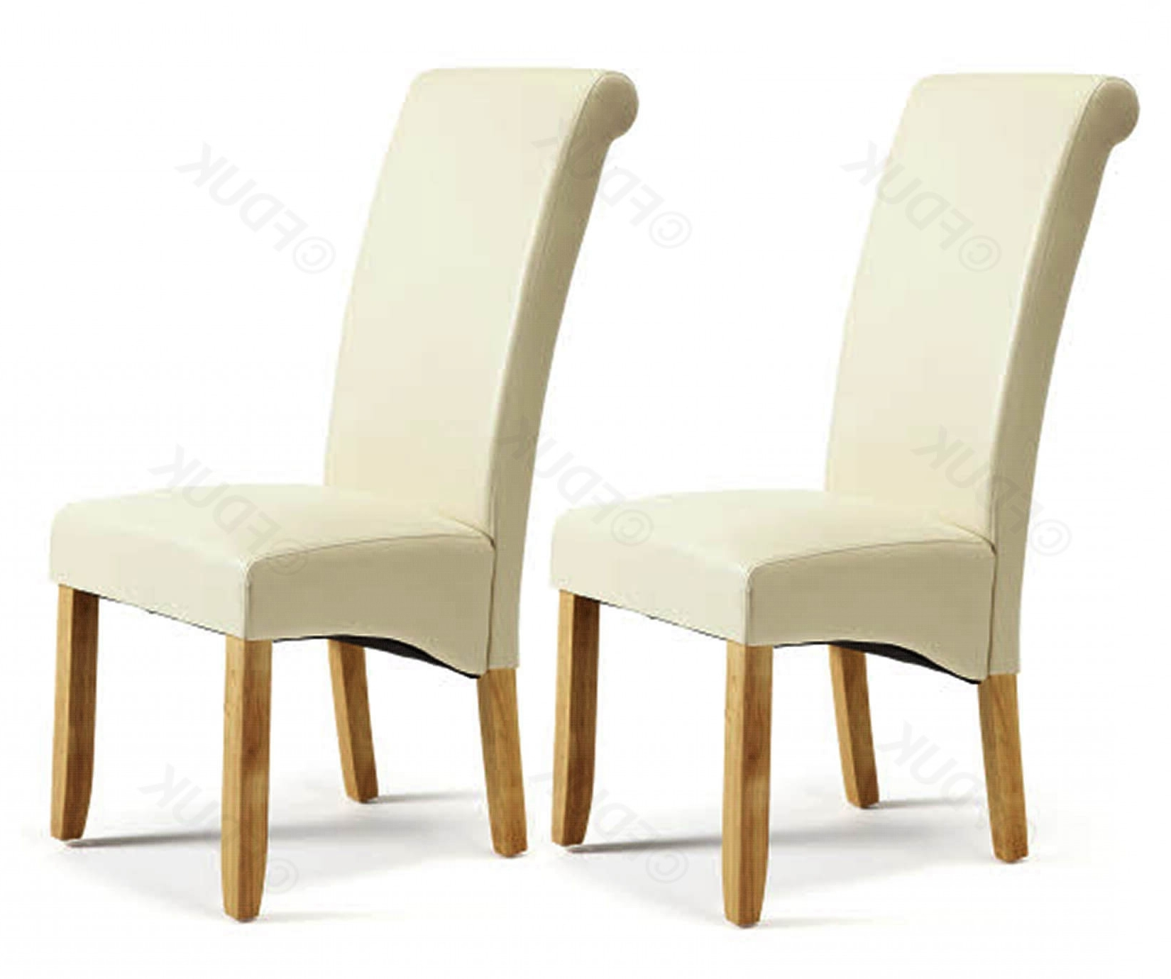 Cream Leather Dining Chairs With Popular Serene Furnishings Kingston Cream Chairs With Oak Legs Fduk Best Price  Guarantee We Will Beat Our Competitors Price! Give Our Sales Team A Call On (View 13 of 25)