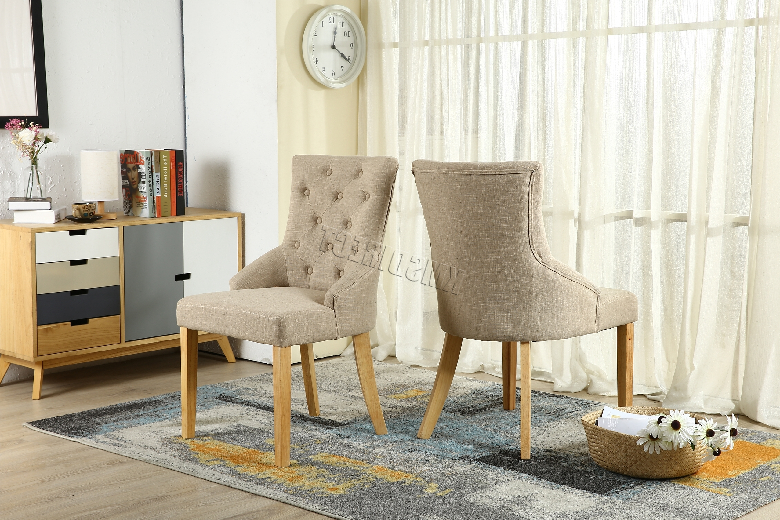 Cream Linen Fabric Dining Chairs Scoop Button Back Office Living Room Dcf03  X 2 For Recent Fabric Dining Chairs (View 8 of 25)