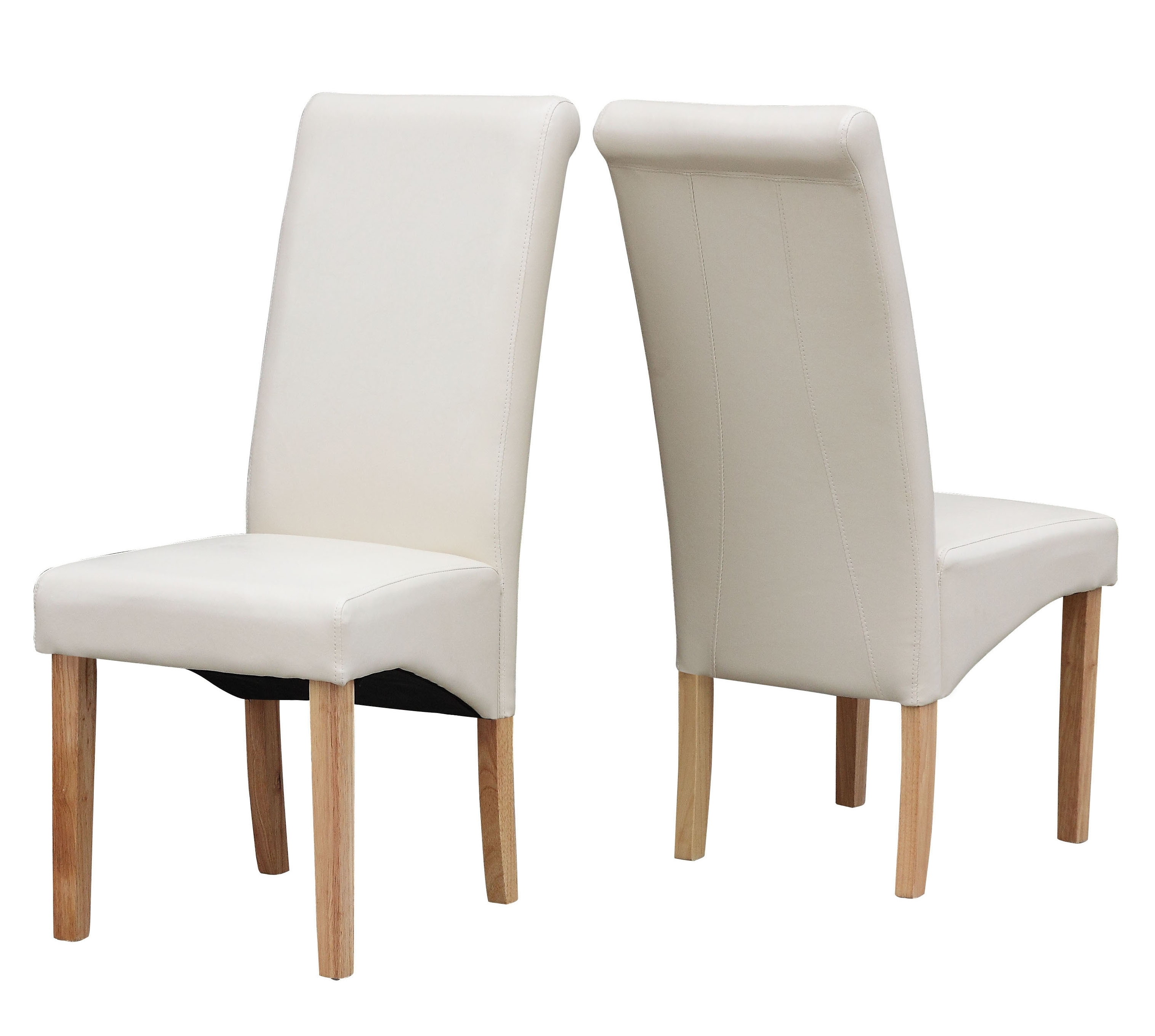 Cream Modern Dining Room Chair Faux Leather Roll Top Intended For Most Recent Cream Faux Leather Dining Chairs (Gallery 3 of 25)