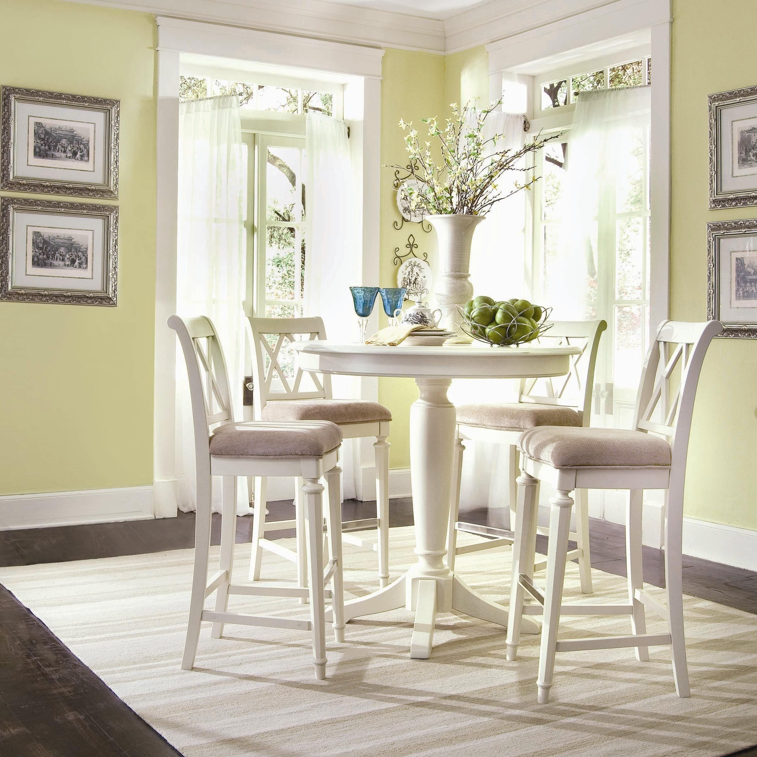 Create A Cottage Look With A Small Gathering Table! #cottage #life Regarding Most Current Palazzo 9 Piece Dining Sets With Pearson White Side Chairs (Gallery 10 of 25)