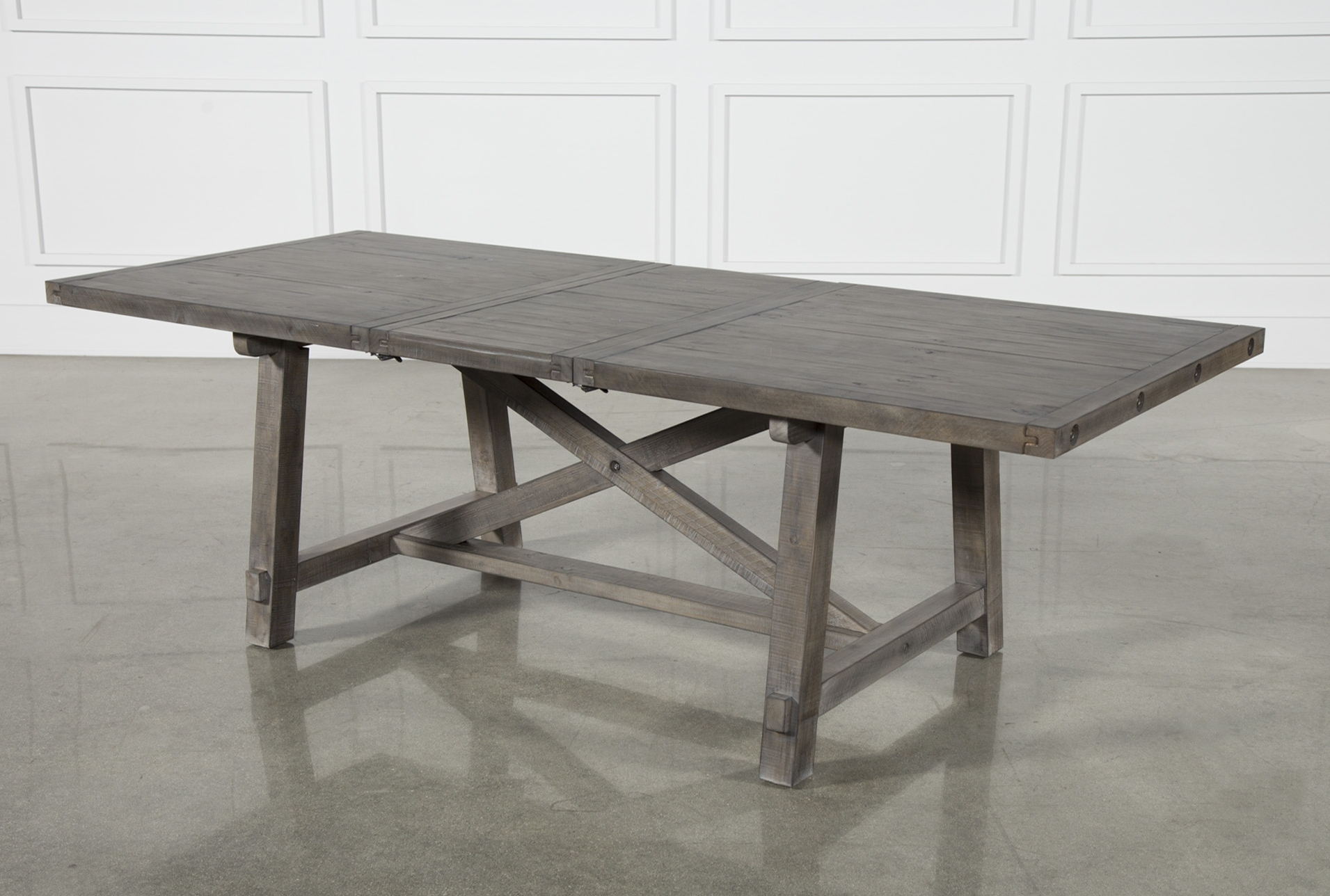 Cross Leg Dining Table For Latest Jaxon Grey Rectangle Extension Dining Tables (View 2 of 25)