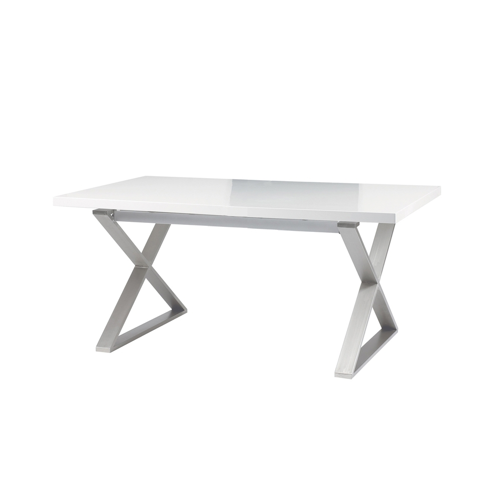 Crossed Leg Gloss 6 Seater Dining Table Brushed Steel Leg White – Dwell –  £649 With Most Up To Date Cheap White High Gloss Dining Tables (Gallery 22 of 25)