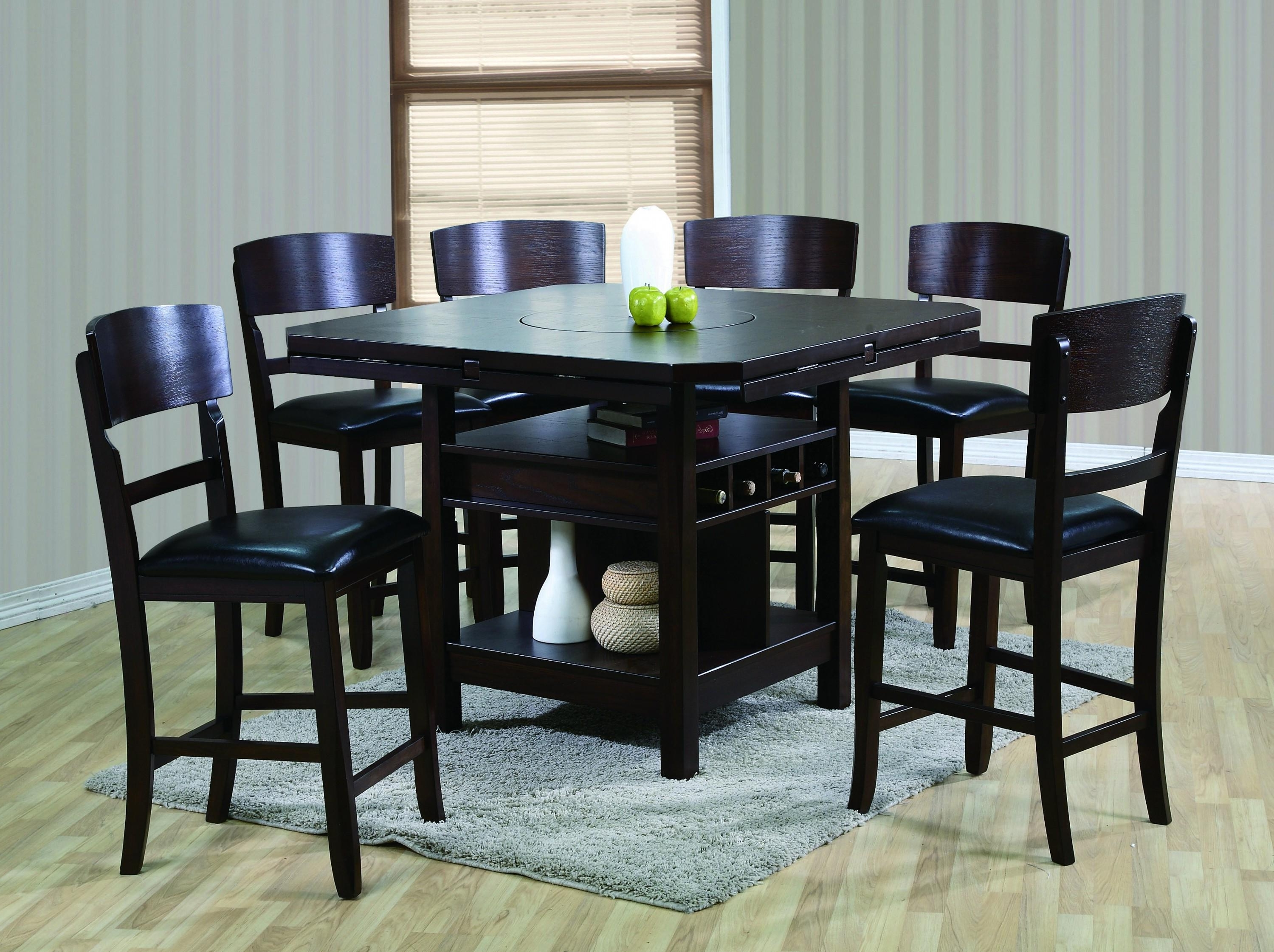 Crown Mark Conner Contemporary 7 Piece Table And Chair Set Throughout Recent Jaxon 5 Piece Extension Counter Sets With Wood Stools (View 14 of 25)