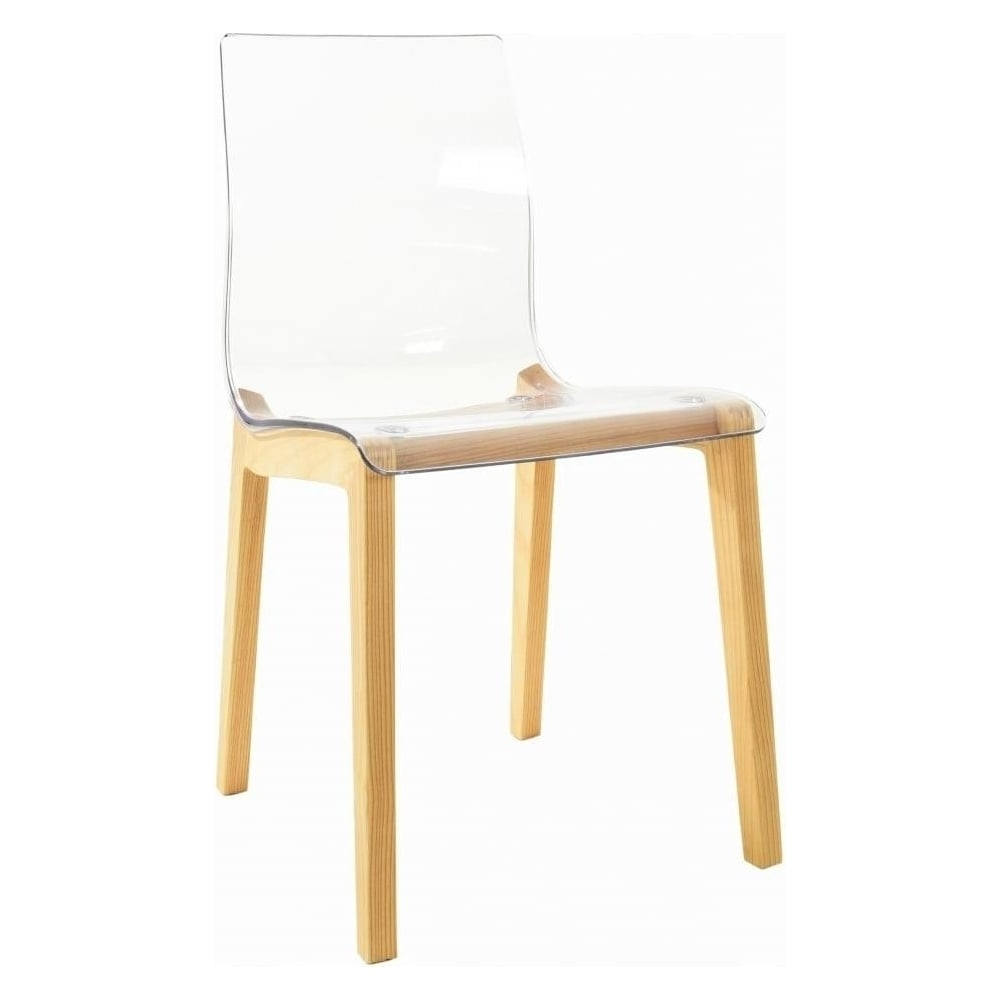 Crystal Clear Plastic Dining Chair With Wood Legs From Fusion Living For Most Recently Released Clear Plastic Dining Tables (View 22 of 25)