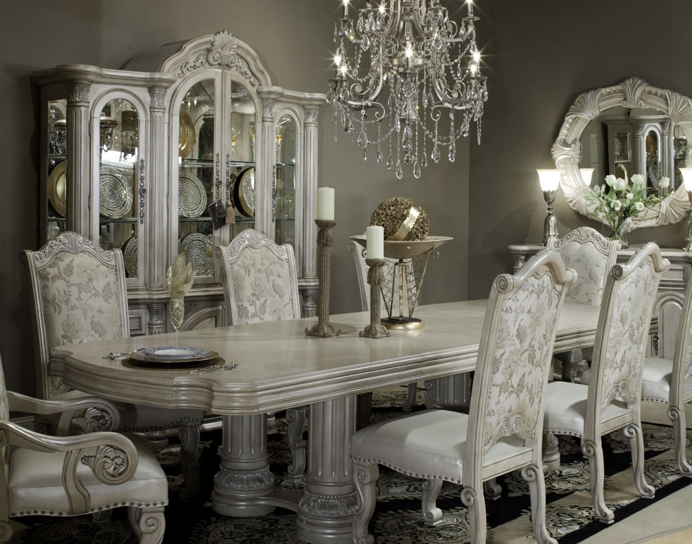 Crystal Dining Tables For Most Current Aico Monte Carlo Ii Silver Pearl Collection (View 21 of 25)
