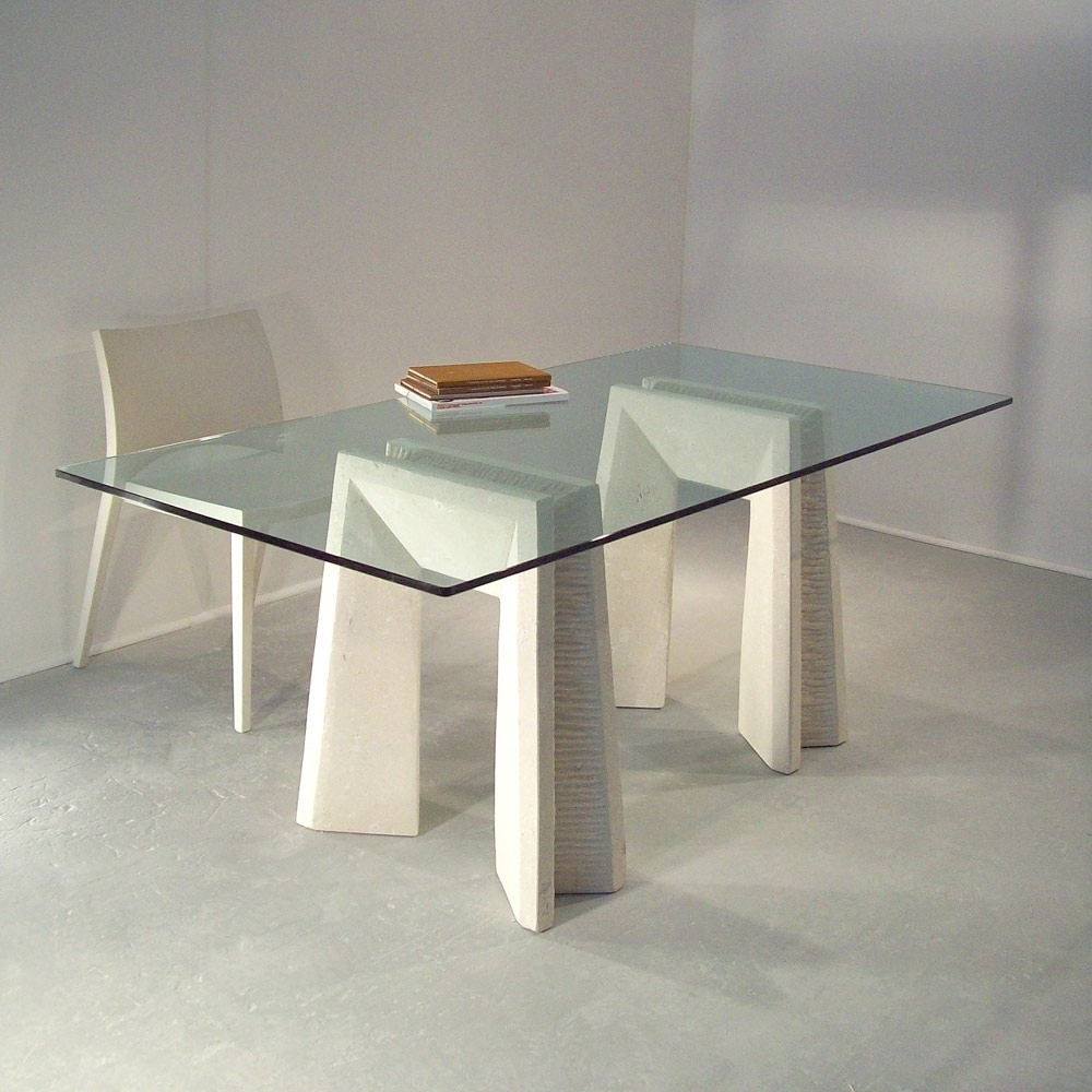 Crystal Dining Tables With Recent Modern Dining Table Made Of Vicenza Natural Stone And Crystal Arianna (View 7 of 25)