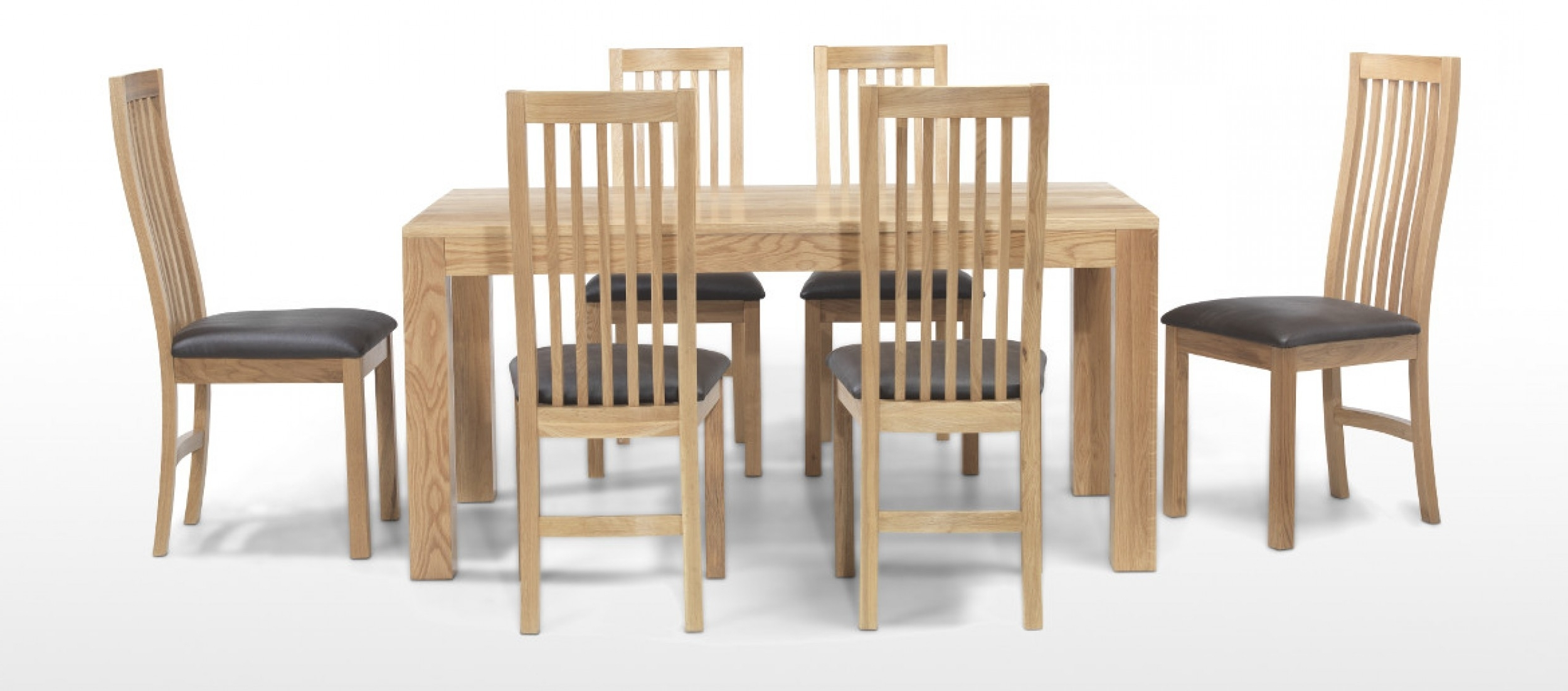 Cube Oak 160 Cm Dining Table And 6 Chairs (View 3 of 25)