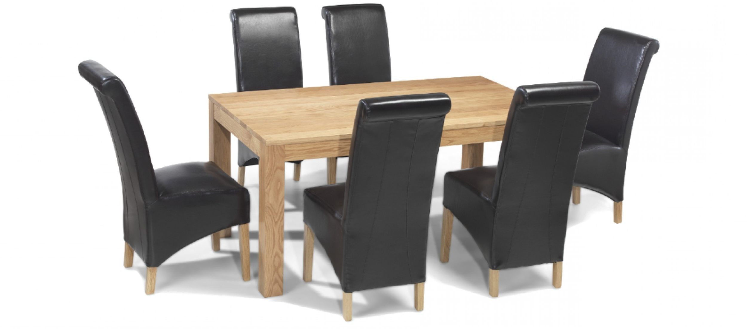 Cube Oak 160 Cm Dining Table And 6 Chairs (View 4 of 25)
