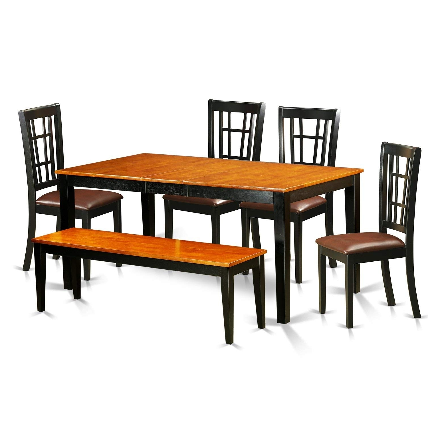 Current 6 Seat Dining Tables Within Amazon – East West Furniture Nico6 Blk Lc 6 Piece Dining Table (View 24 of 25)