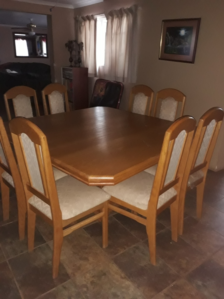 Current 8 Seater Oak Dining Tables Regarding Solid Oak Square 8 Seater Dining Table With Matching High Back (View 7 of 25)