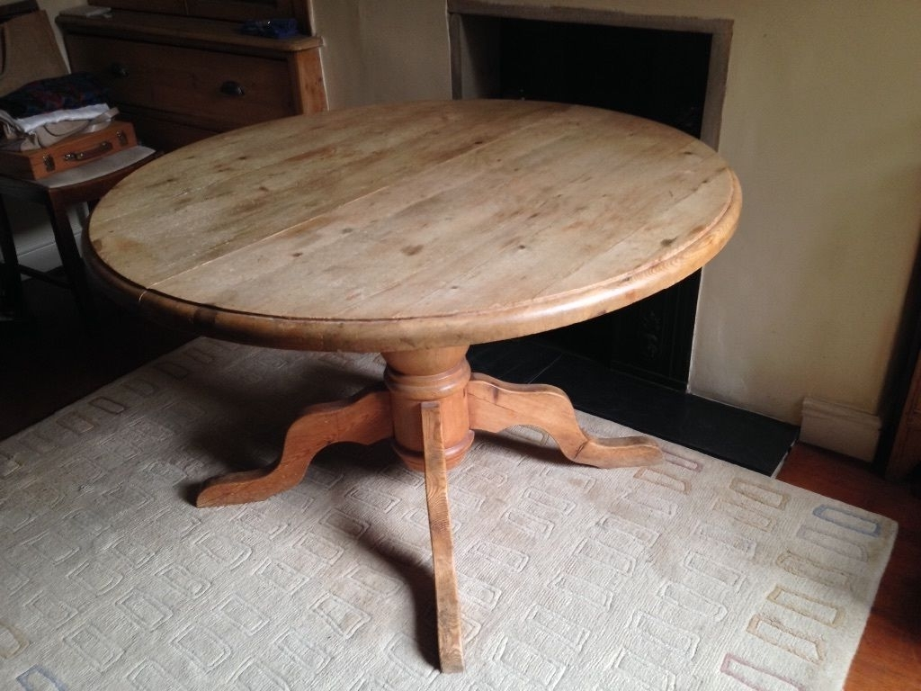 Current Antique Pine Round Dining Table, Extends To Oval, Large Pedestal Intended For Round Dining Tables Extends To Oval (View 13 of 25)