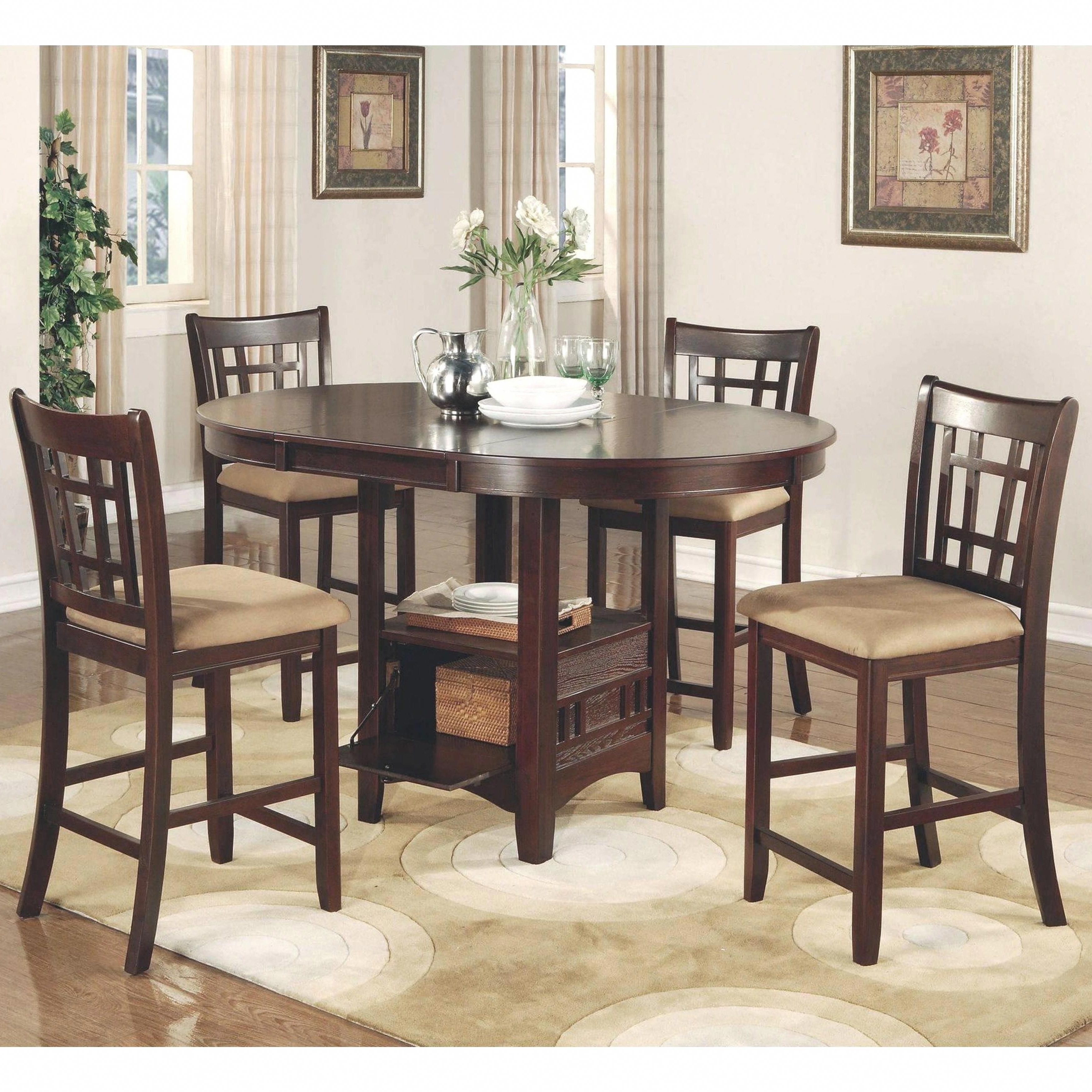 Current Azalea Warm Brown Counter Height Dining Set (1 Table – 6 Stools For Craftsman 7 Piece Rectangle Extension Dining Sets With Uph Side Chairs (View 21 of 25)