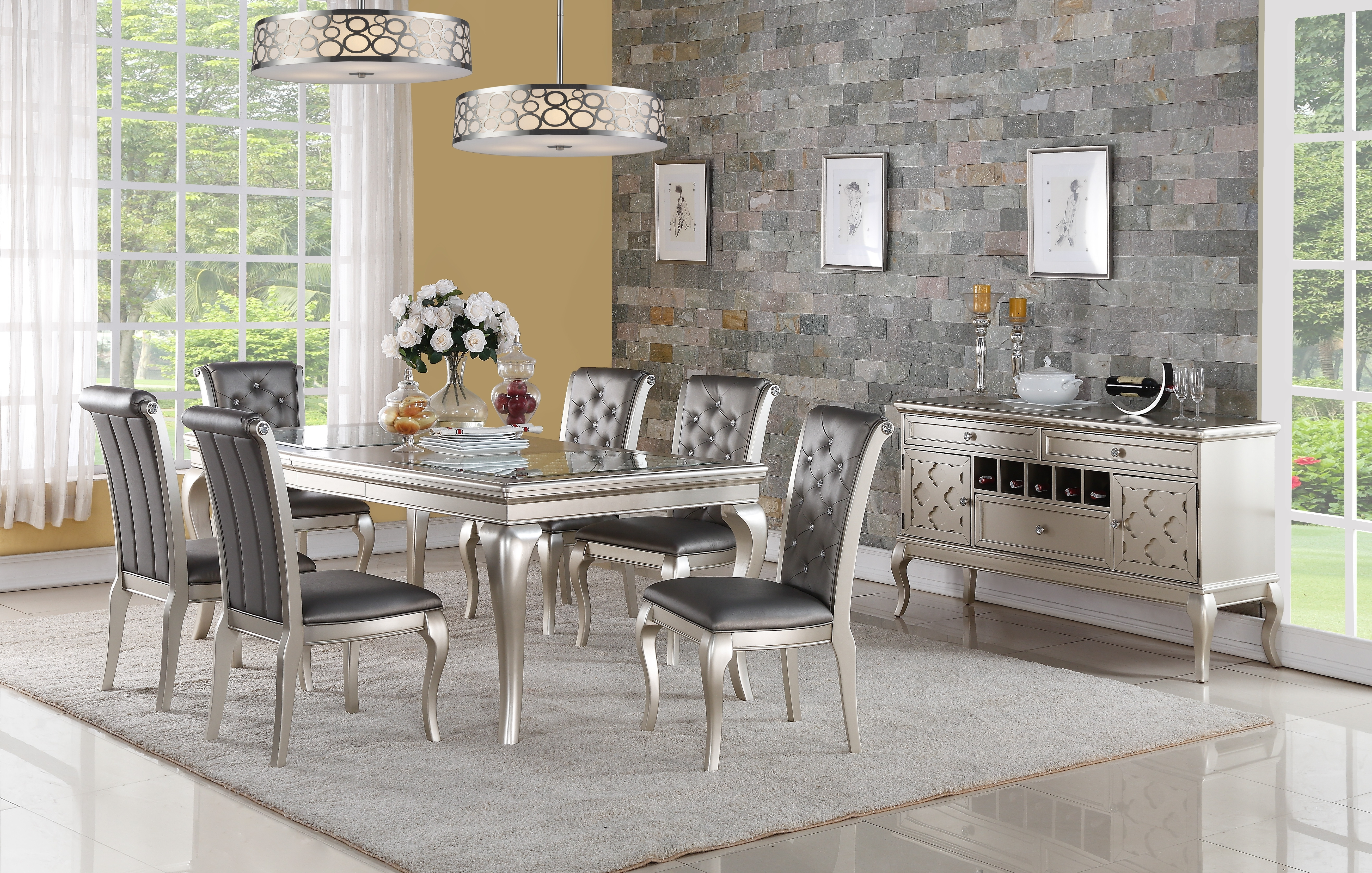 Current Barcelona Dining Tables Intended For Galaxy Home Furniture (View 12 of 25)