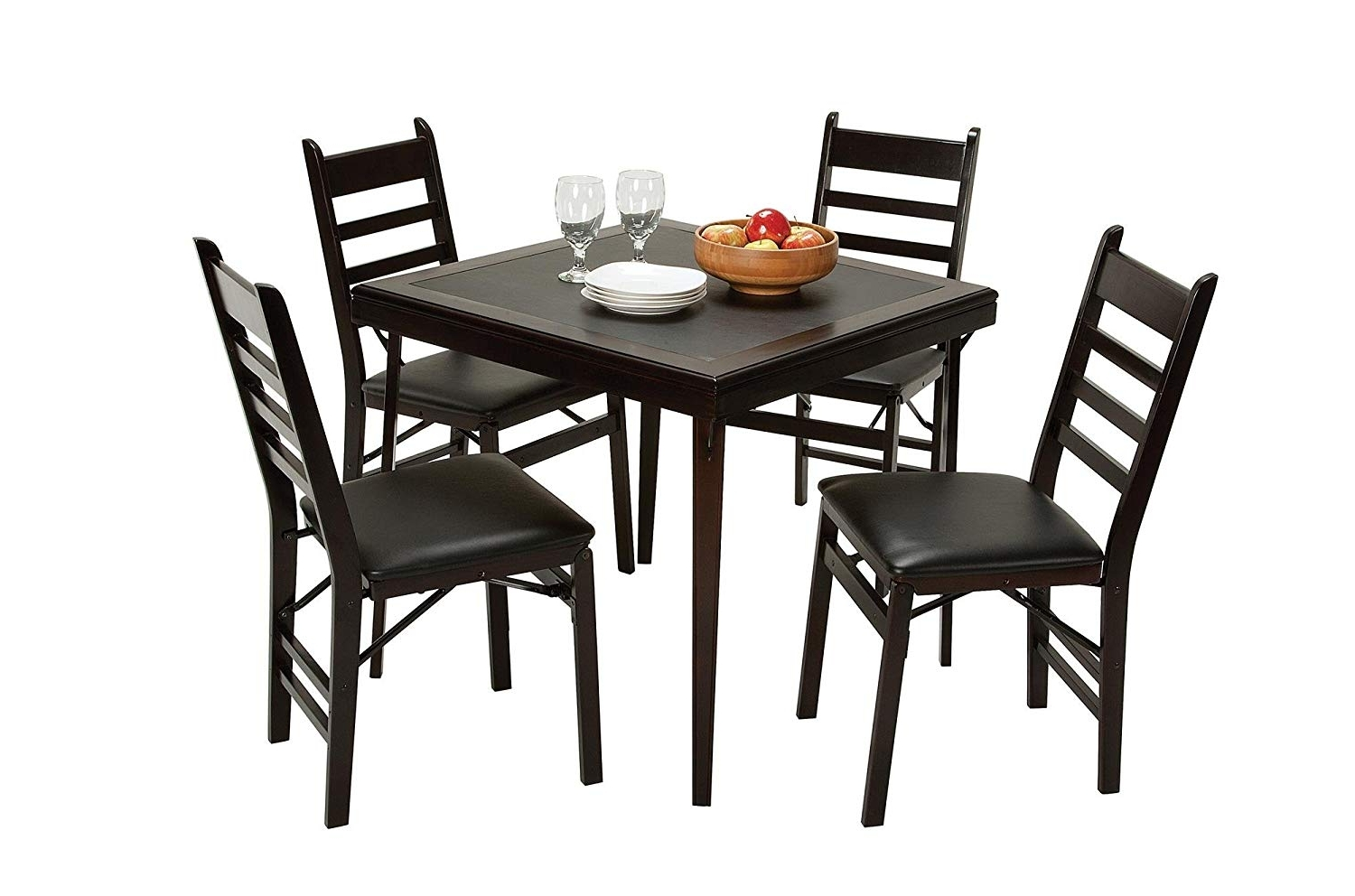 Current Black Folding Dining Tables And Chairs Throughout Amazon: Cosco Folding Espresso Wood Table Square With Vinyl (View 8 of 25)