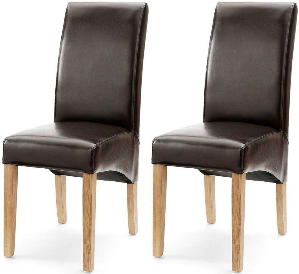 Current Brown Leather Dining Chairs Pertaining To Akron Brown Faux Leather Dining Chair With Natural Leg (Pair) (View 7 of 25)