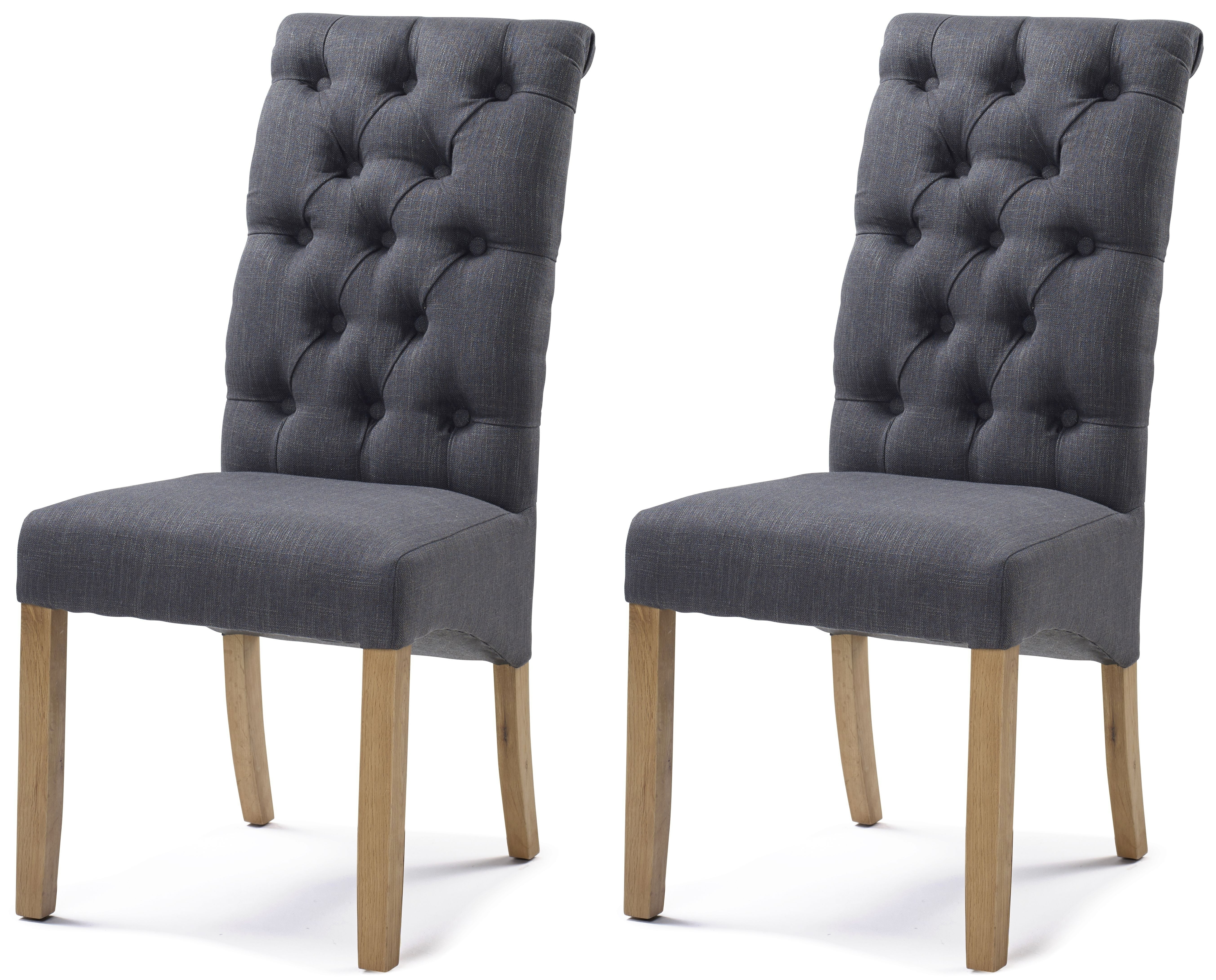 Current Button Back Dining Chairs In Cambridge Straight Top Carbon Black Button Back Dining Chair (Pair) (Gallery 6 of 25)