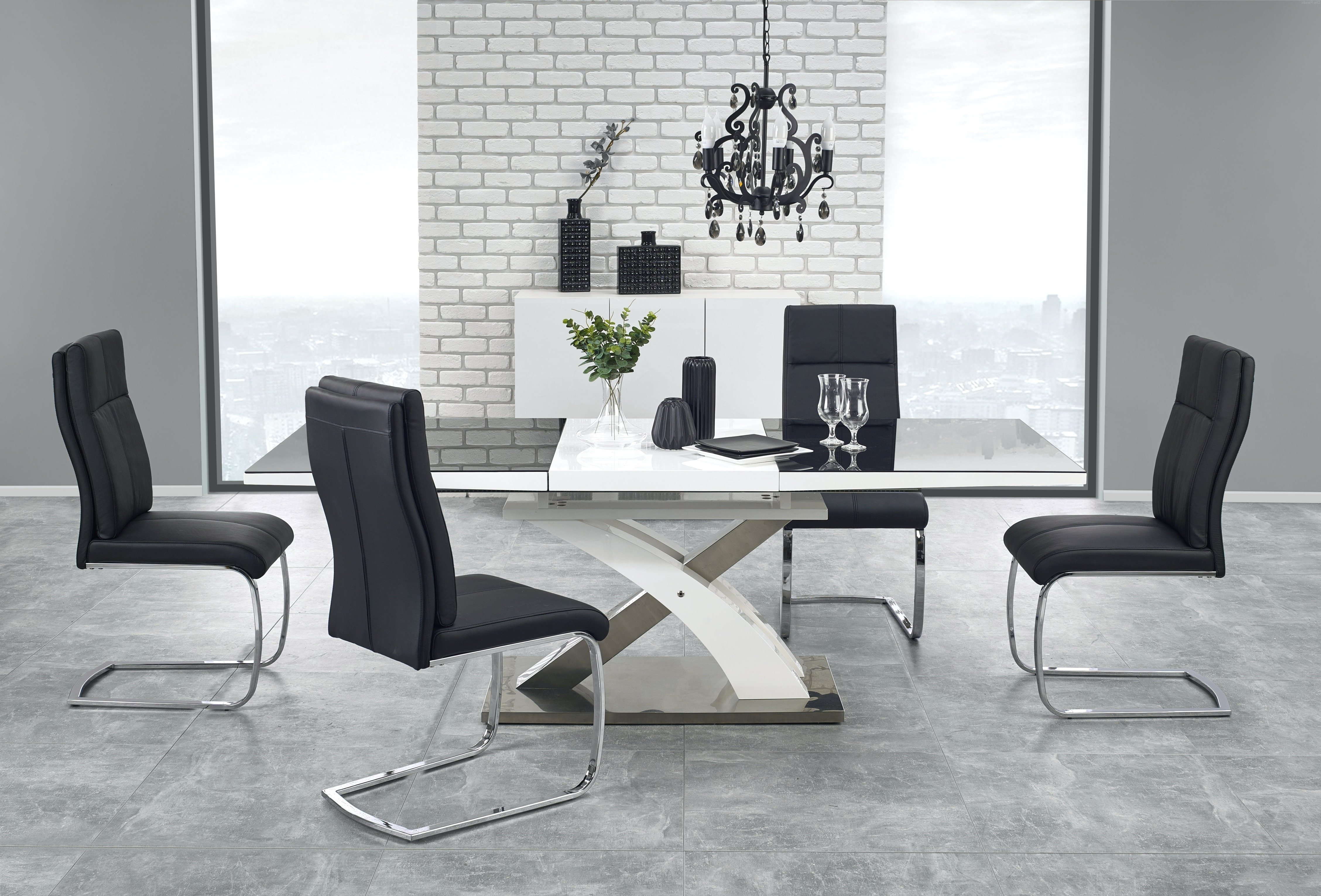 Current Buy Harmony High Gloss White Black Glass Extendable Dining Table 160 In Glass Dining Tables White Chairs (Gallery 20 of 25)
