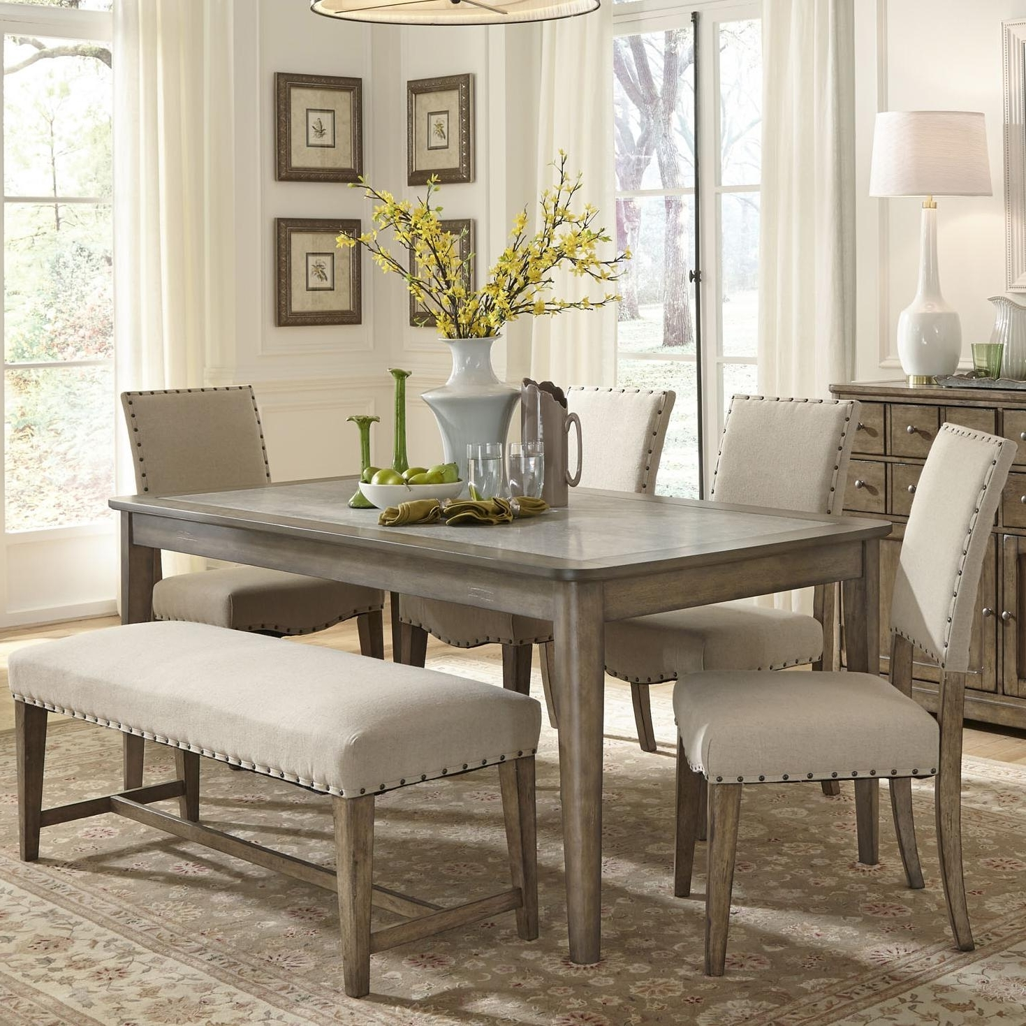 Current Caira 7 Piece Rectangular Dining Sets With Upholstered Side Chairs Within 57 Dining Table Set With 6 Chairs, Uhuru Furniture Collectibles (View 7 of 25)
