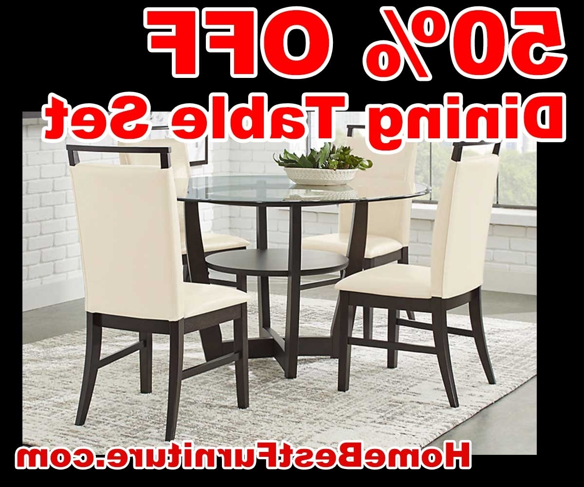 Current Caira Black 5 Piece Round Dining Sets With Upholstered Side Chairs With 50 Percent Off Discount Ciara Espresso 5 Pc Dining Table Set Reviews (Gallery 15 of 25)