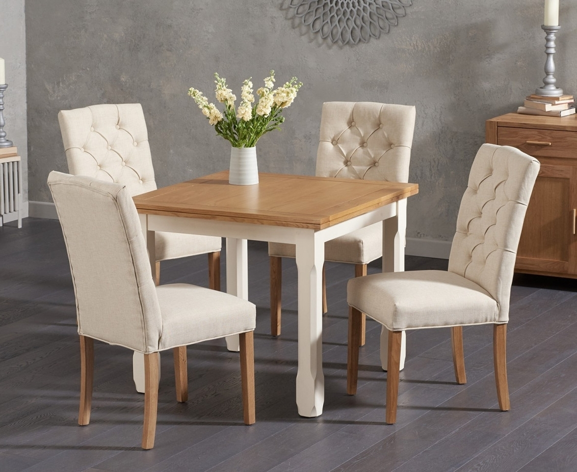 Current Candice Ii 6 Piece Extension Rectangle Dining Sets With Regard To Somerset 90Cm Flip Top Oak And Cream Dining Table With Candice Cream (View 12 of 25)