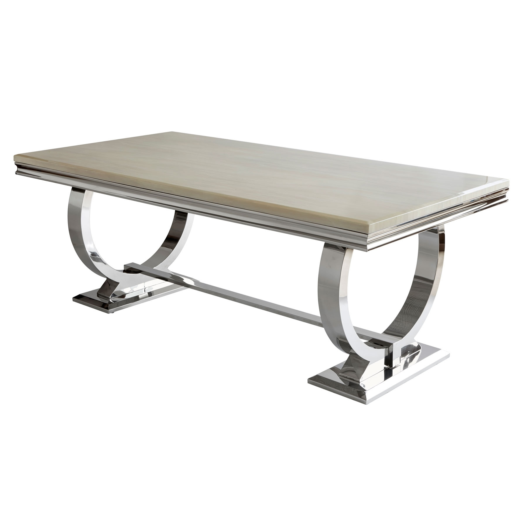 Current Chrome Dining Tables With Regard To Renata 200Cm Marble And Chrome Dining Table (View 13 of 25)