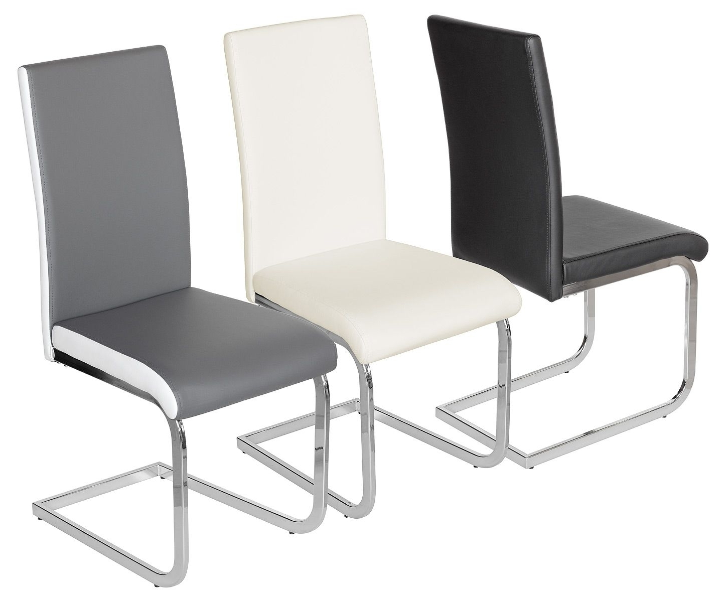 Current Cream Faux Leather Dining Chairs Within Prinny Pu Sprung Steel Dining Chair  Black Cream Or Grey (View 23 of 25)
