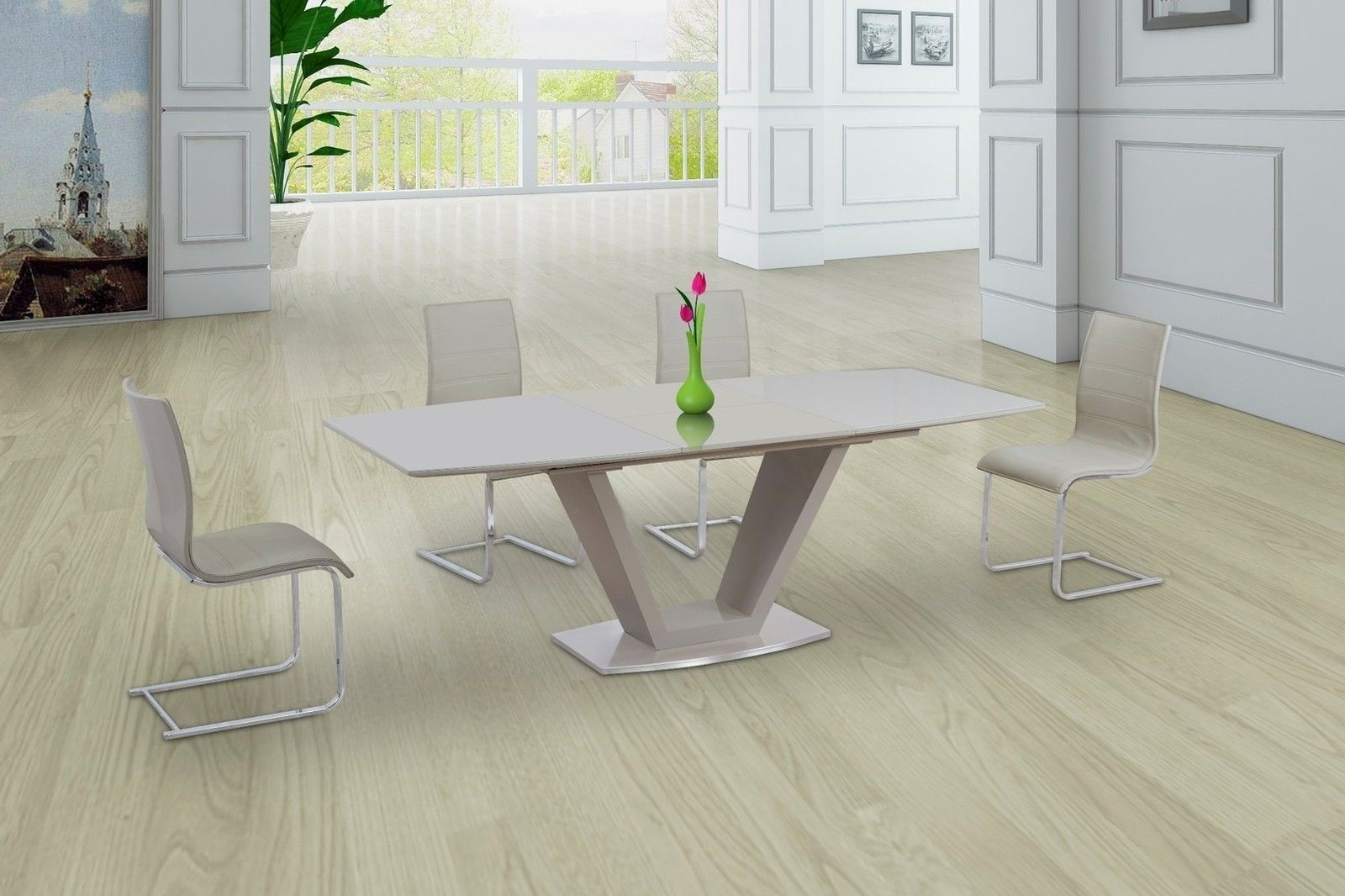 Current Cream High Gloss Dining Tables Pertaining To Cream Glass High Gloss Extending Dining Table And 8 Gloss Chairs Set (View 9 of 25)