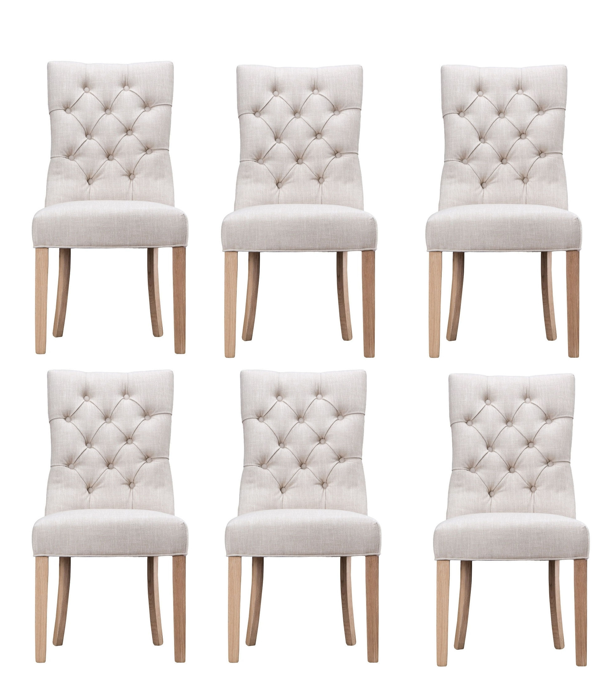 Current Curved Button Back Beige Upholstered Dining Chair – Azura Home Style With Regard To Oak Fabric Dining Chairs (View 25 of 25)