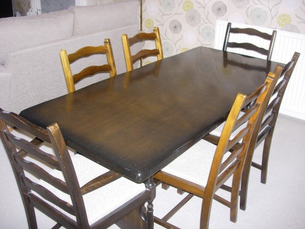 Current Dark Wood Dining Table And 6 Chairs (Gallery 11 of 25)