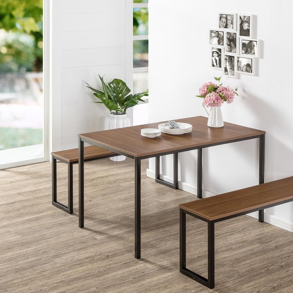 Current Dining Tables And 2 Benches Intended For Zinus Modern Studio Collection 3 Piece Brown Soho Dining Table With (View 3 of 25)