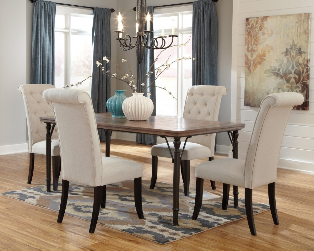 Current Dining Tables And Fabric Chairs Inside Tripton Rectangular Dining Room Table & 4 Uph Side Chairs (View 3 of 25)
