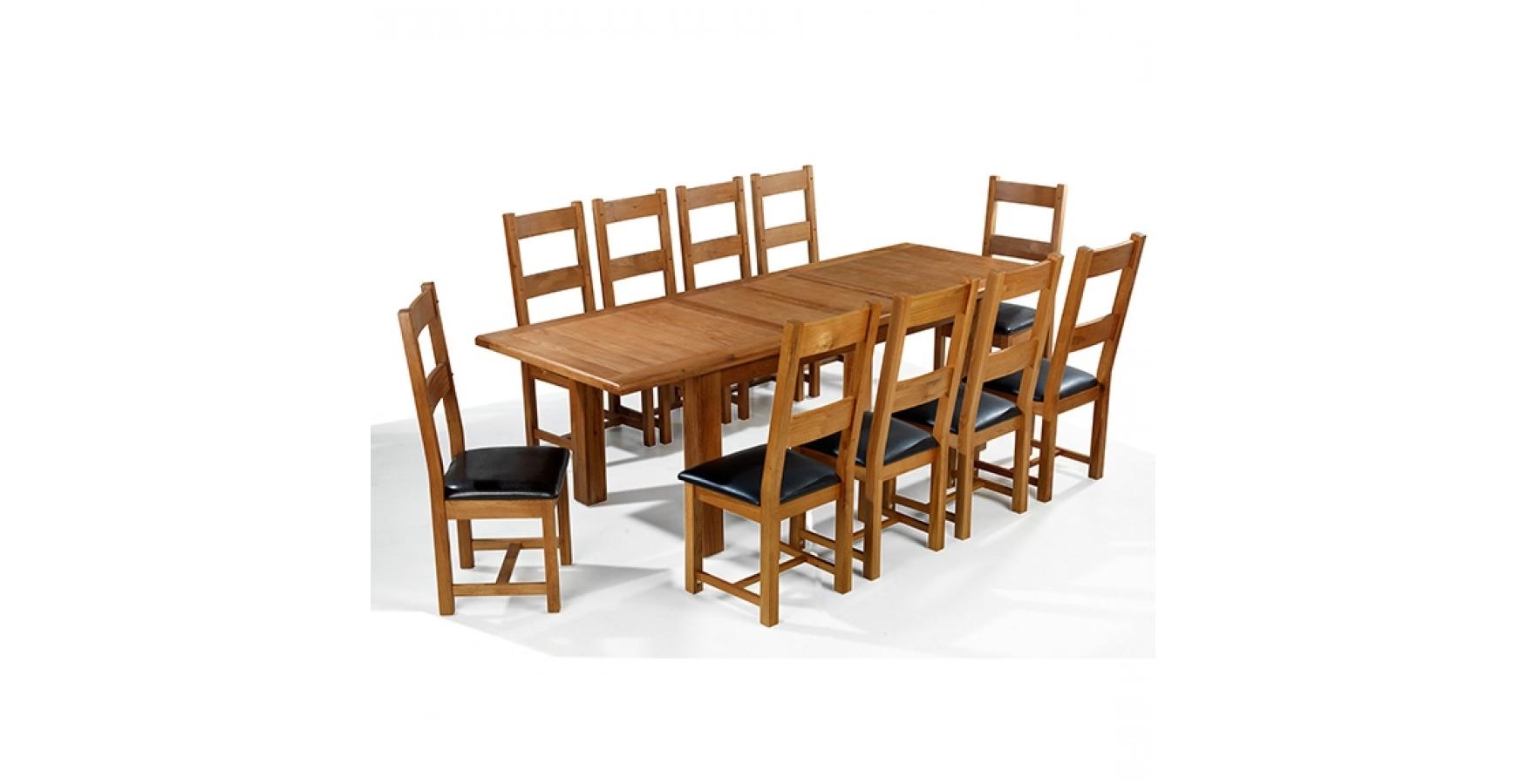 Current Emsworth Oak 180 250 Cm Extending Dining Table And 10 Chairs Regarding Dining Table And 10 Chairs (View 6 of 25)