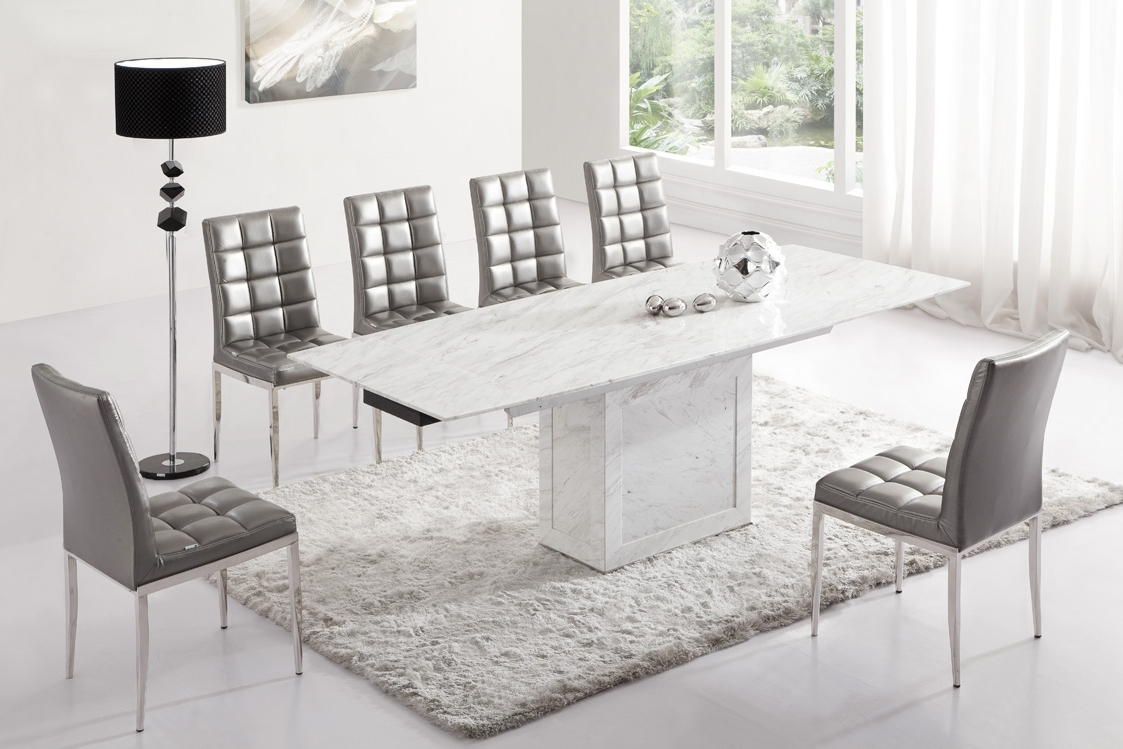 Current Extending Marble Dining Tables For Zeus White Grey Marble Extending Dining Table 6 Chairs Black White (View 7 of 25)