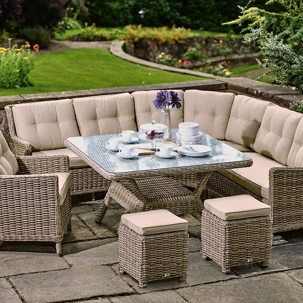 Current Garden Dining Tables In Palmera Curved Garden Sofa, Square Dining Table, 1 Armchair And (View 25 of 25)