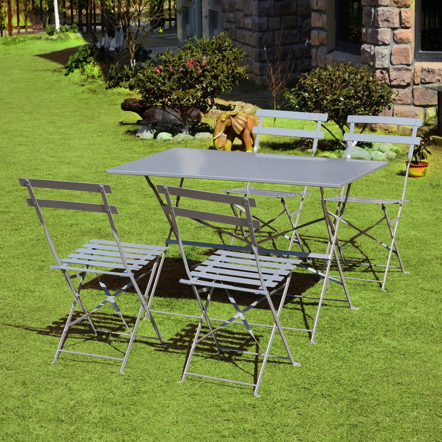 Current Garden Dining Tables With Regard To 5Pc Outdoor Garden Furniture Set Patio Folding Dining Table Chairs (View 17 of 25)